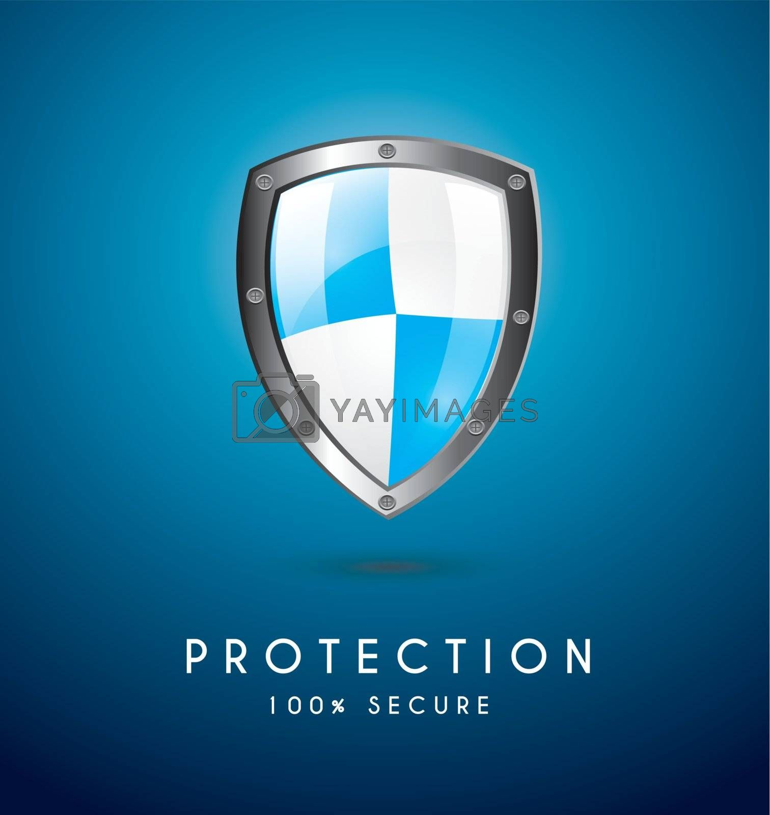 Protection icon over blue background vector illustration