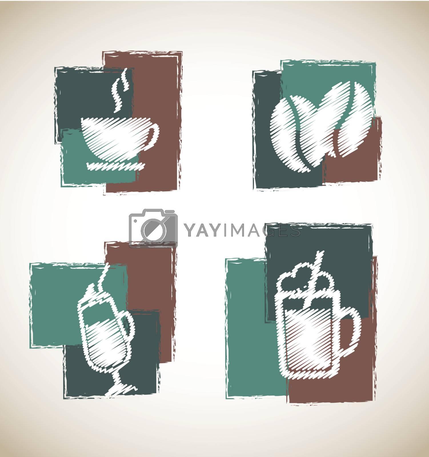 coffee symbols over vintage background vector illustration