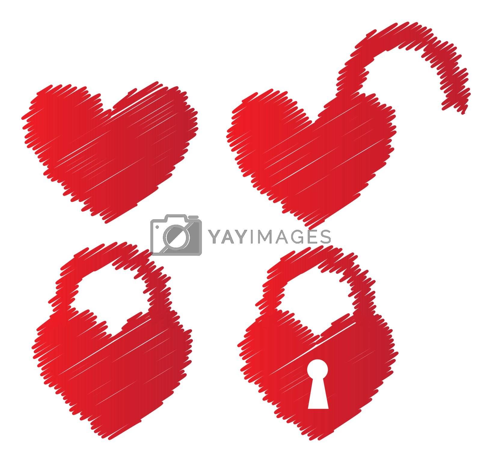 heart shaped padlocks over white background vector illustratin