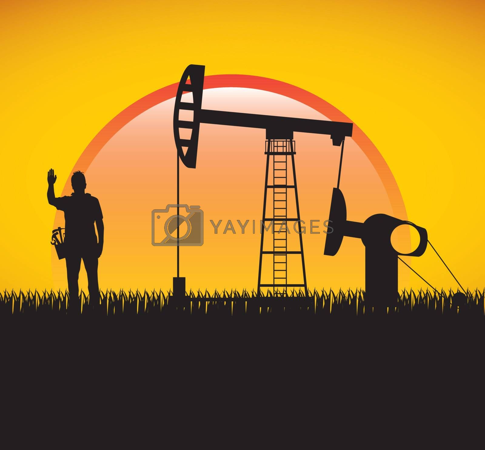 Industry and people over summer background vector illustration