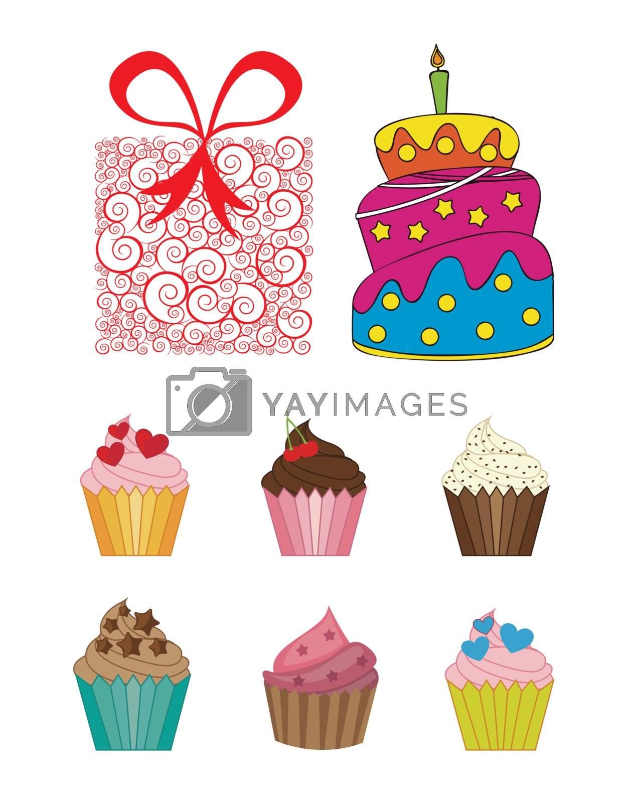 Happy birthday icons over white background vector illustration