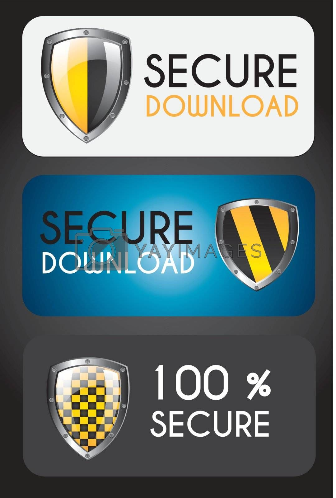 Secure icons over black background vector illustration