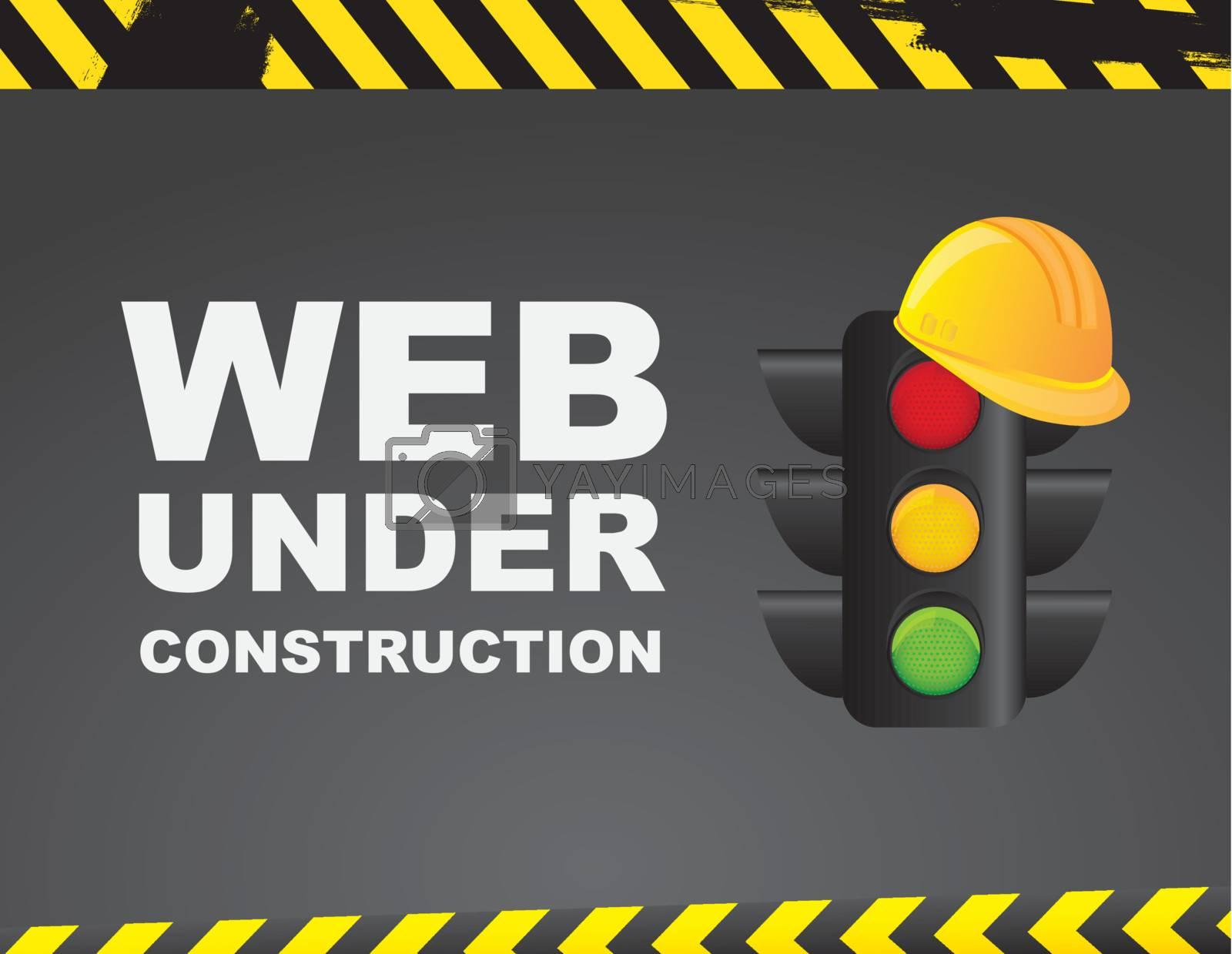Web under construction over caution background