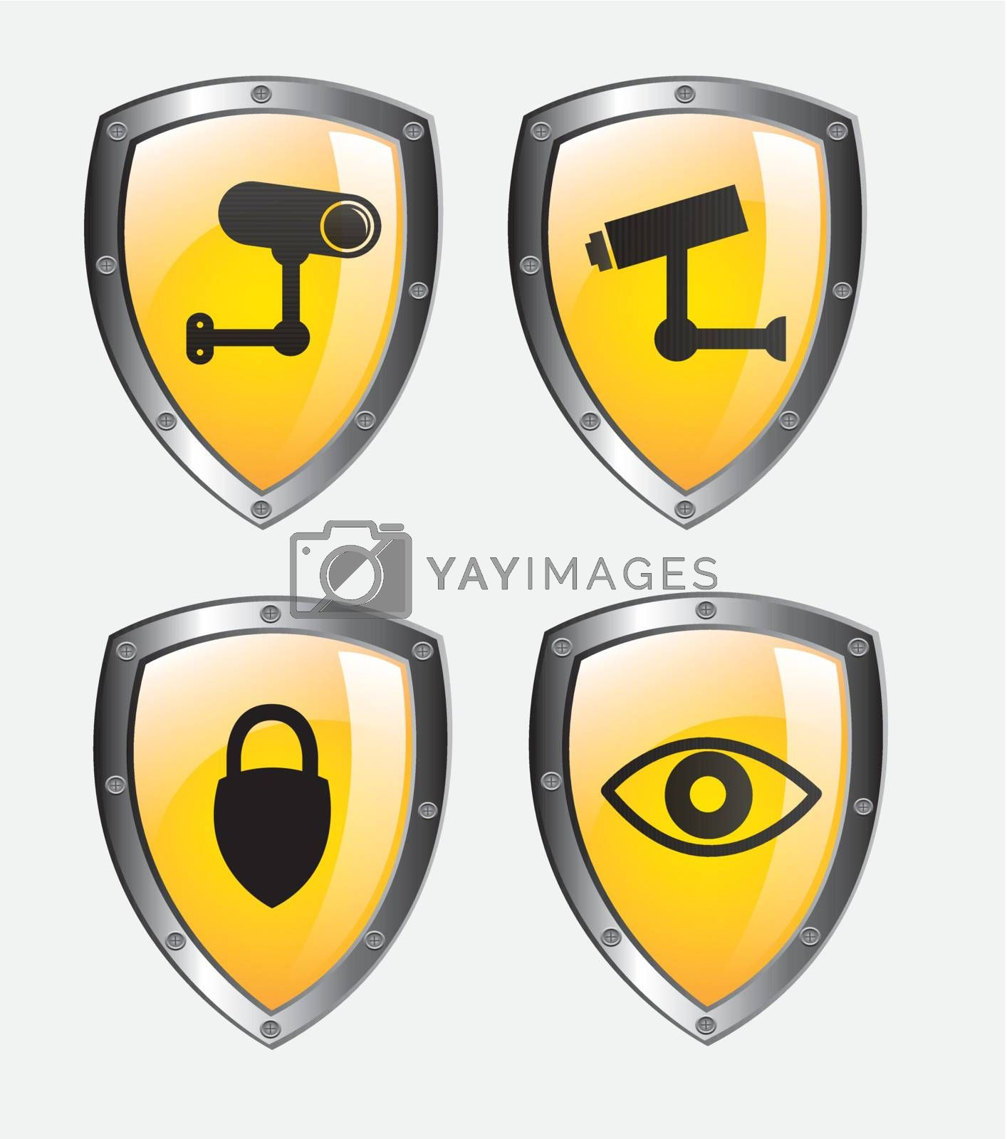 Security icons over white background vector illustration