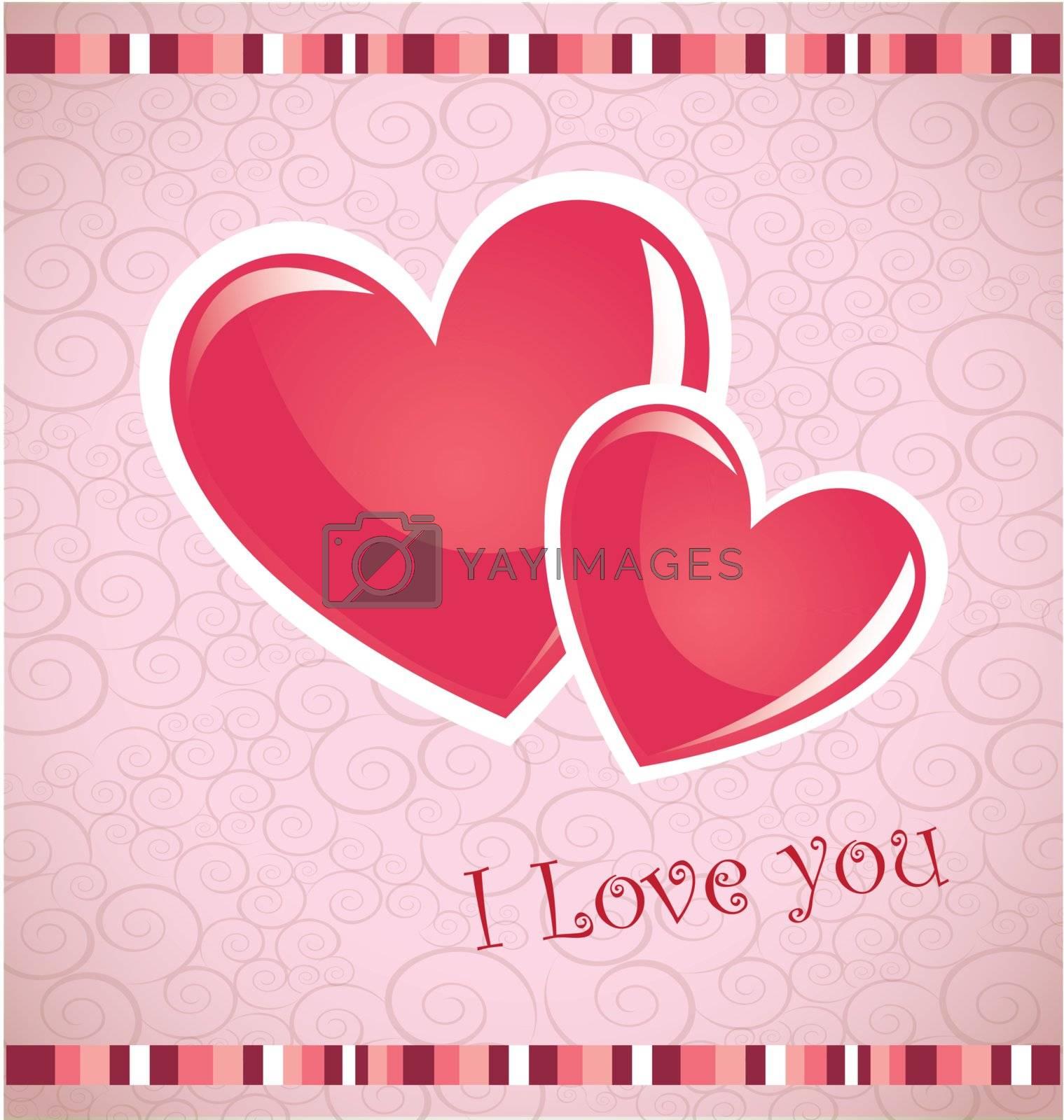 Valentines day card over pink background vector illustration