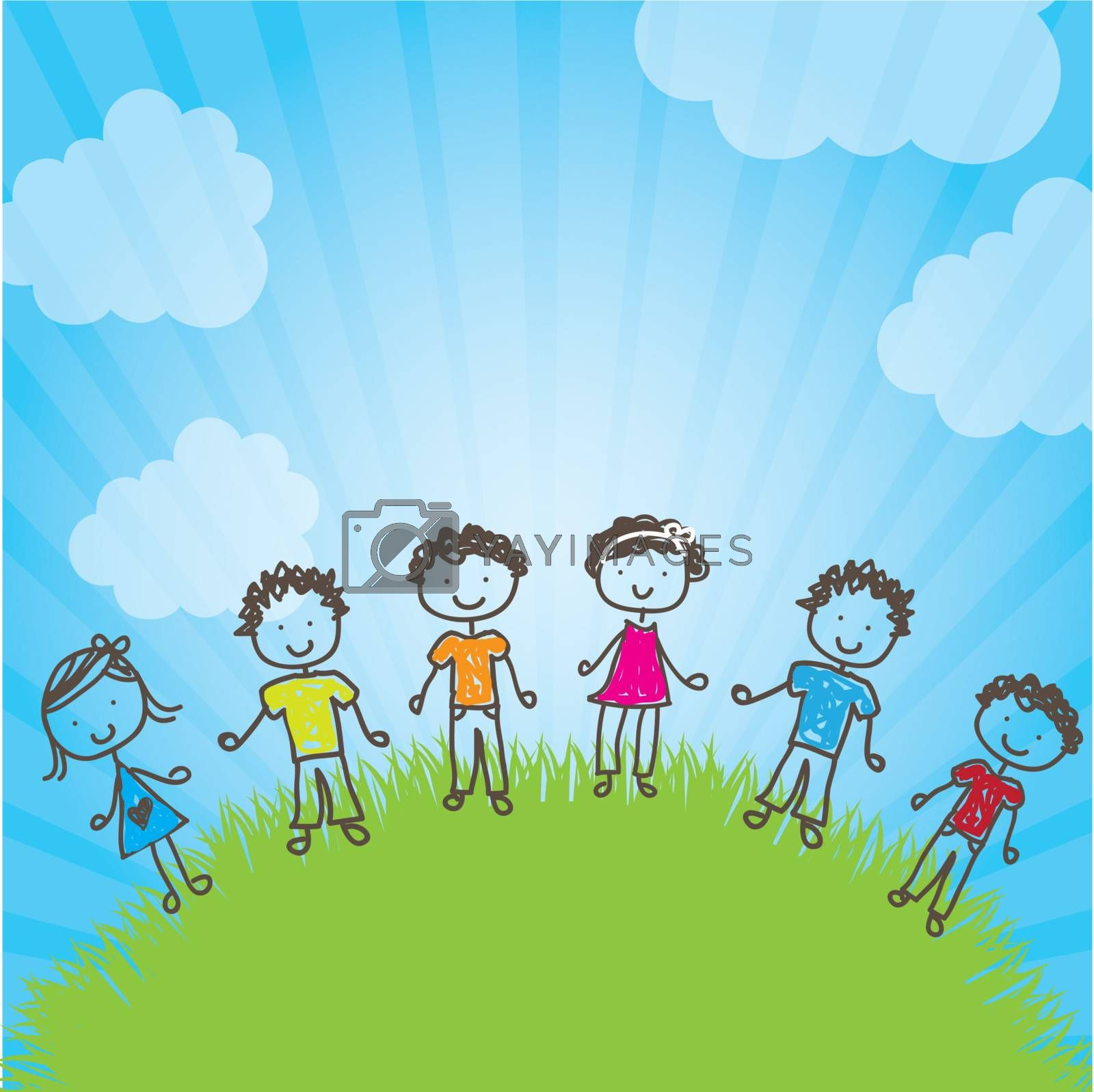 many happy children in a natural vector illustration