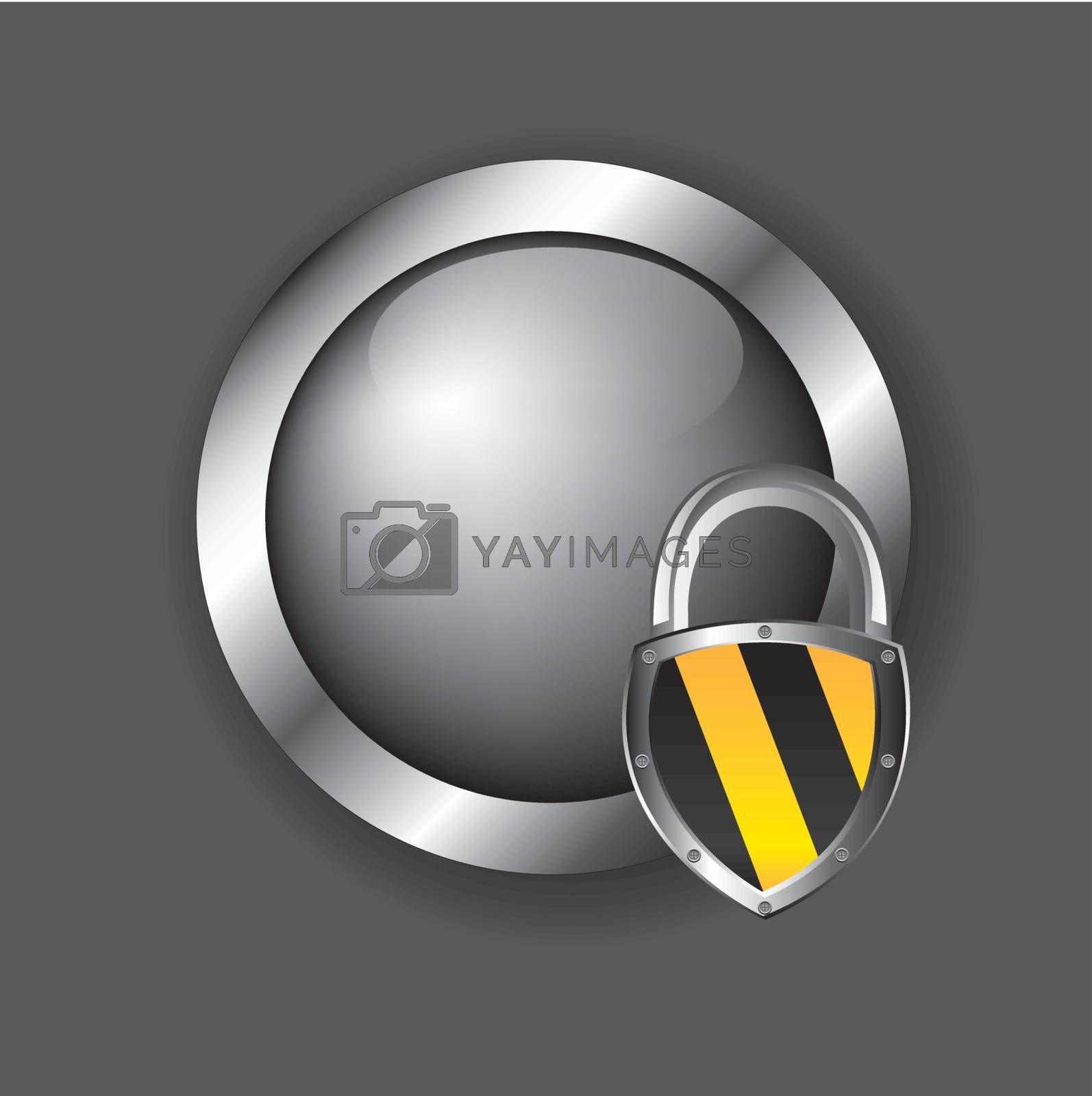 security icons over chrome button with a padlock over chrome background