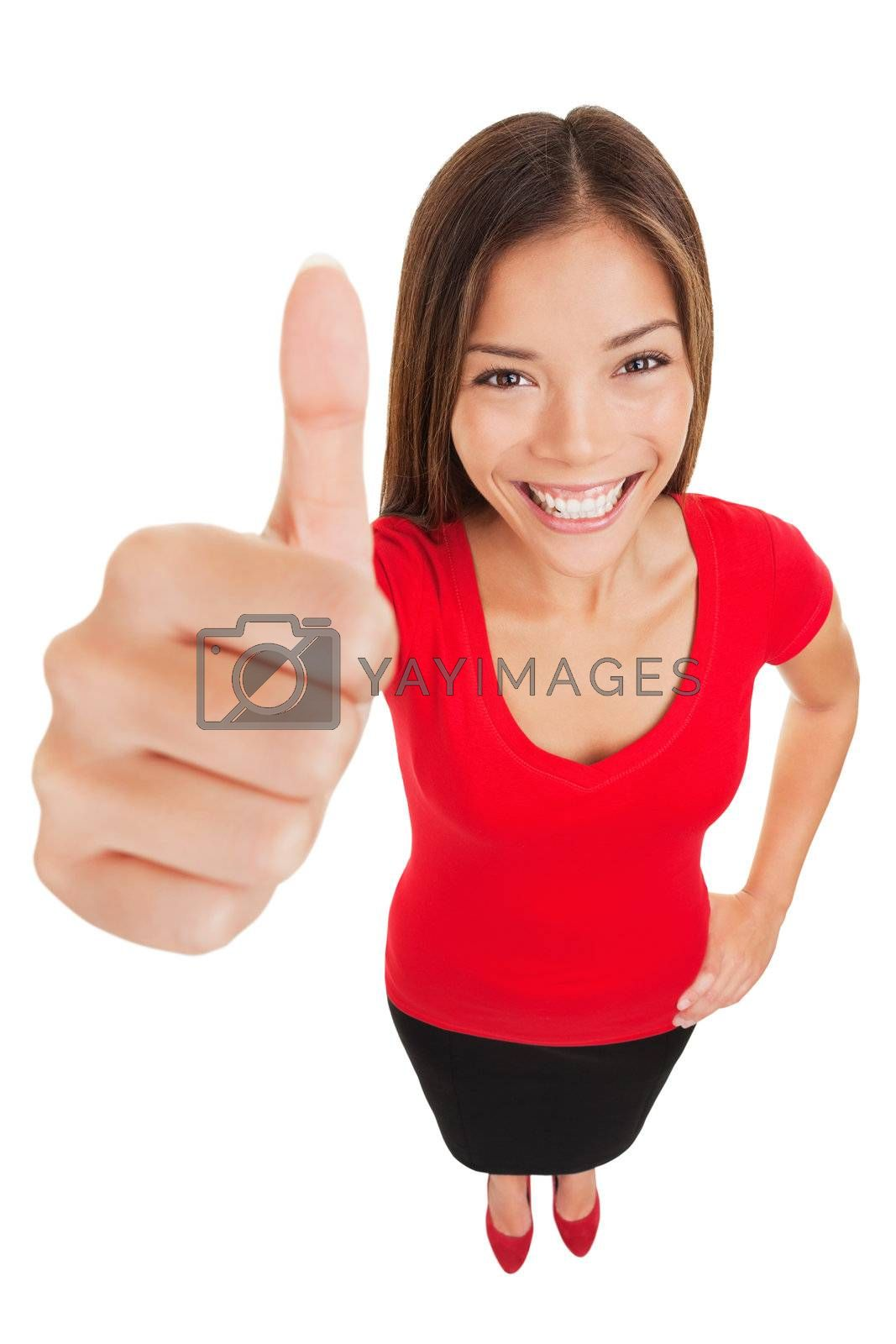 Thumbs up woman. Fun high angle full body portrait of a vivacious laughing woman giving a thumbs up gesture of approval as she looks at camera, isolated on white background. Mixed race businesswoman