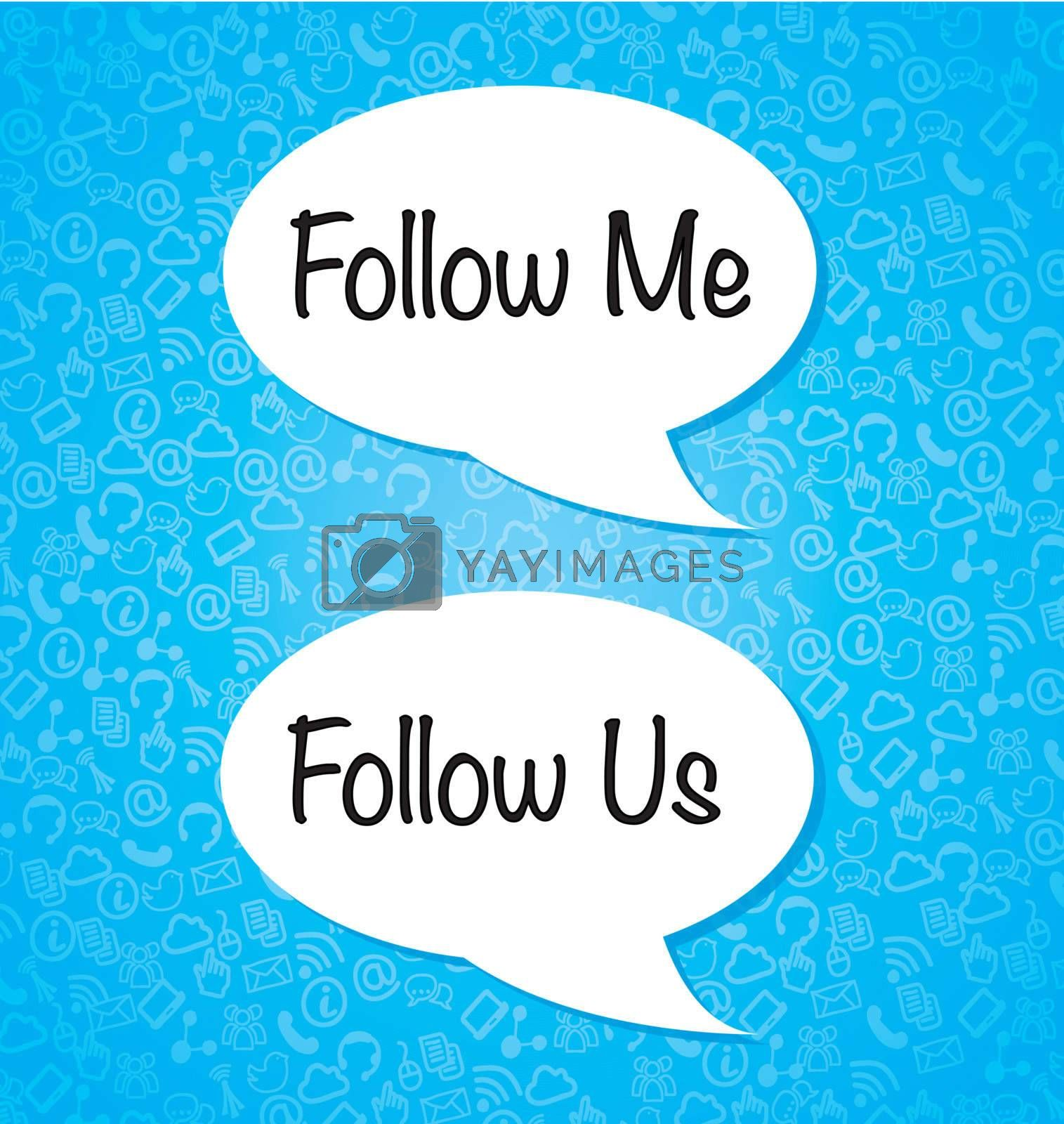 Follow me and follow us over blue background vector illustration