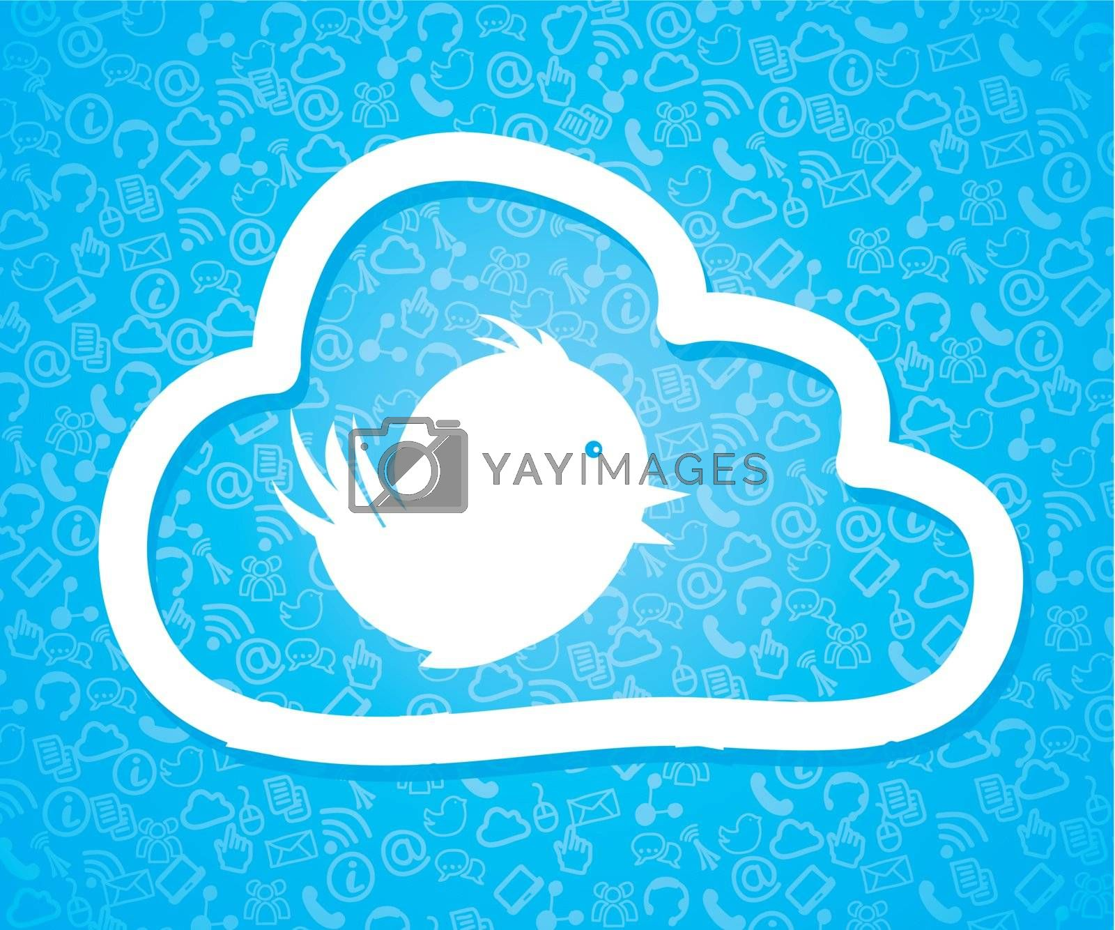 Big and white bird over blue and communication icons