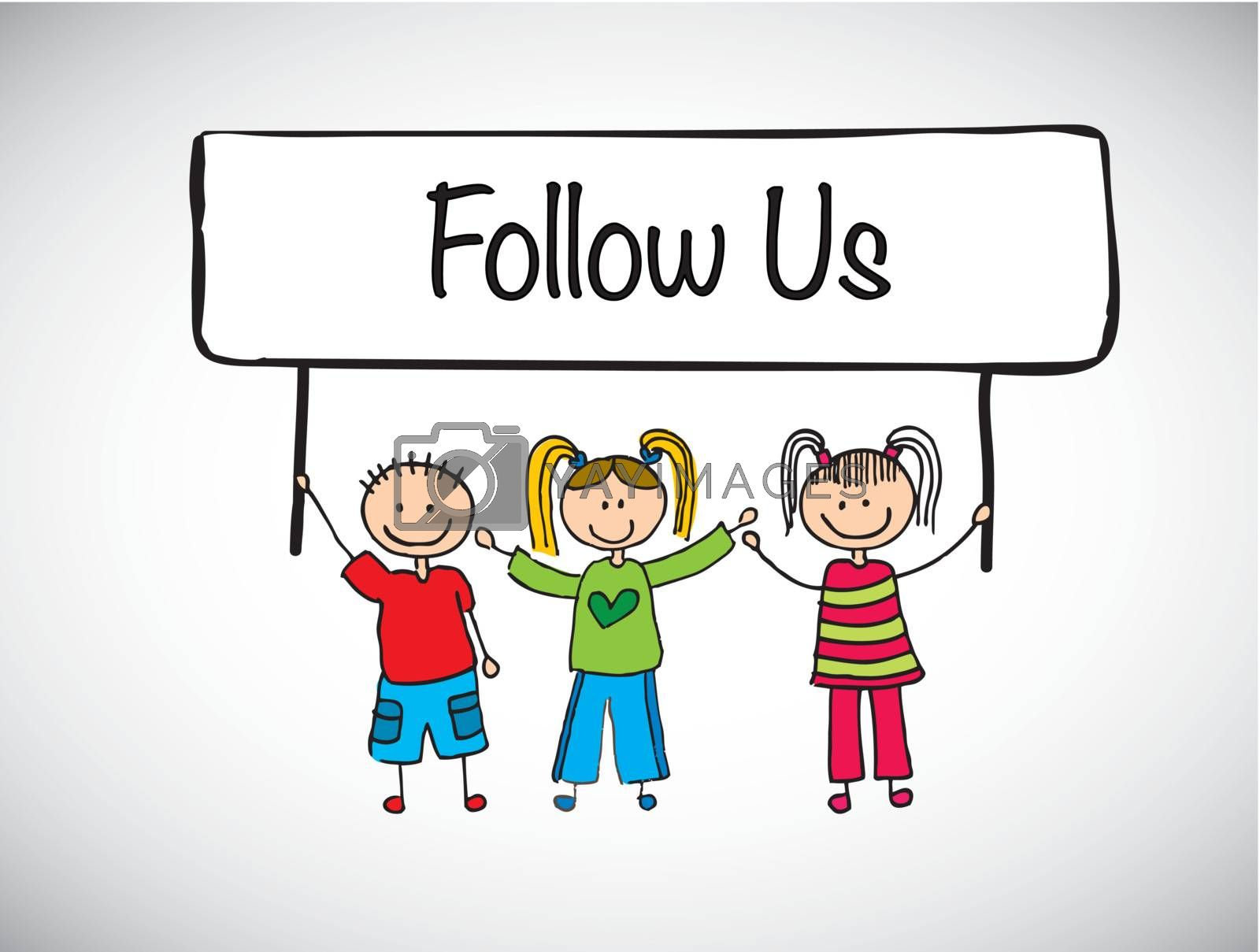 children holding a sign follow us over white background