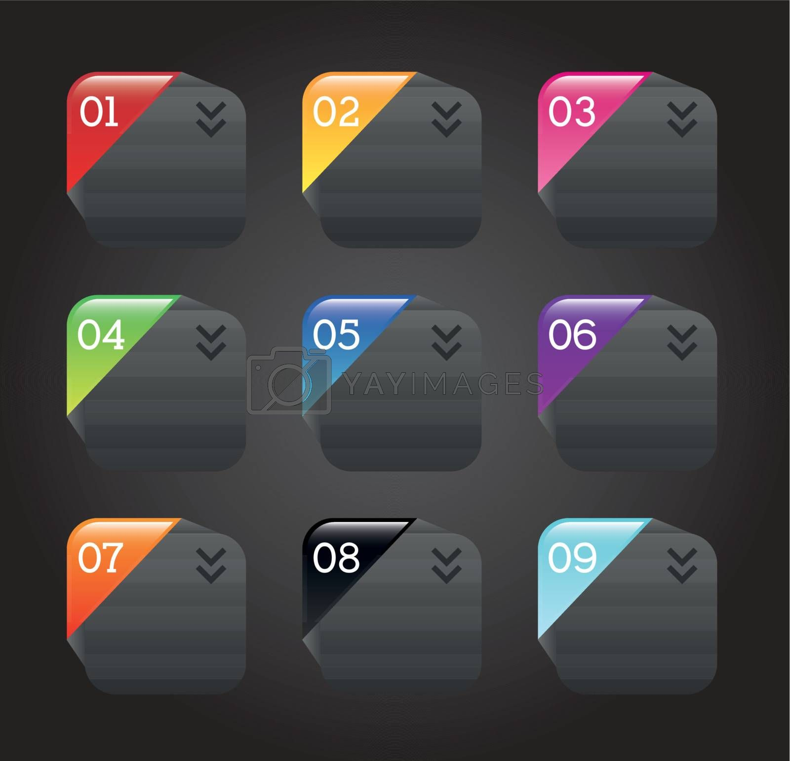 Template numbers over black background vector illustration
