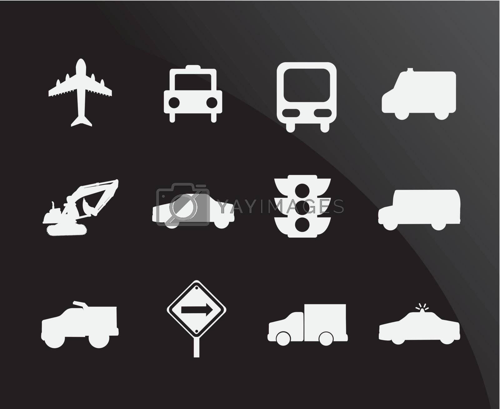 Transportation icons over black background vector illustration