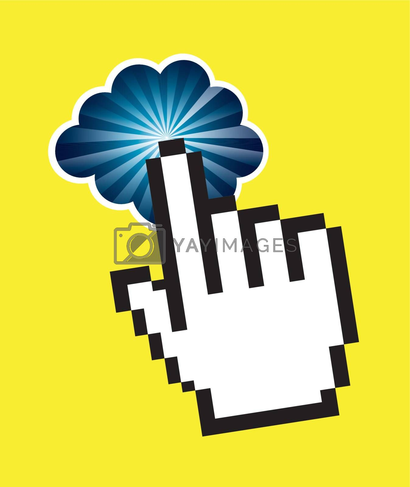 Hand and cloud over yellow background vector illustration