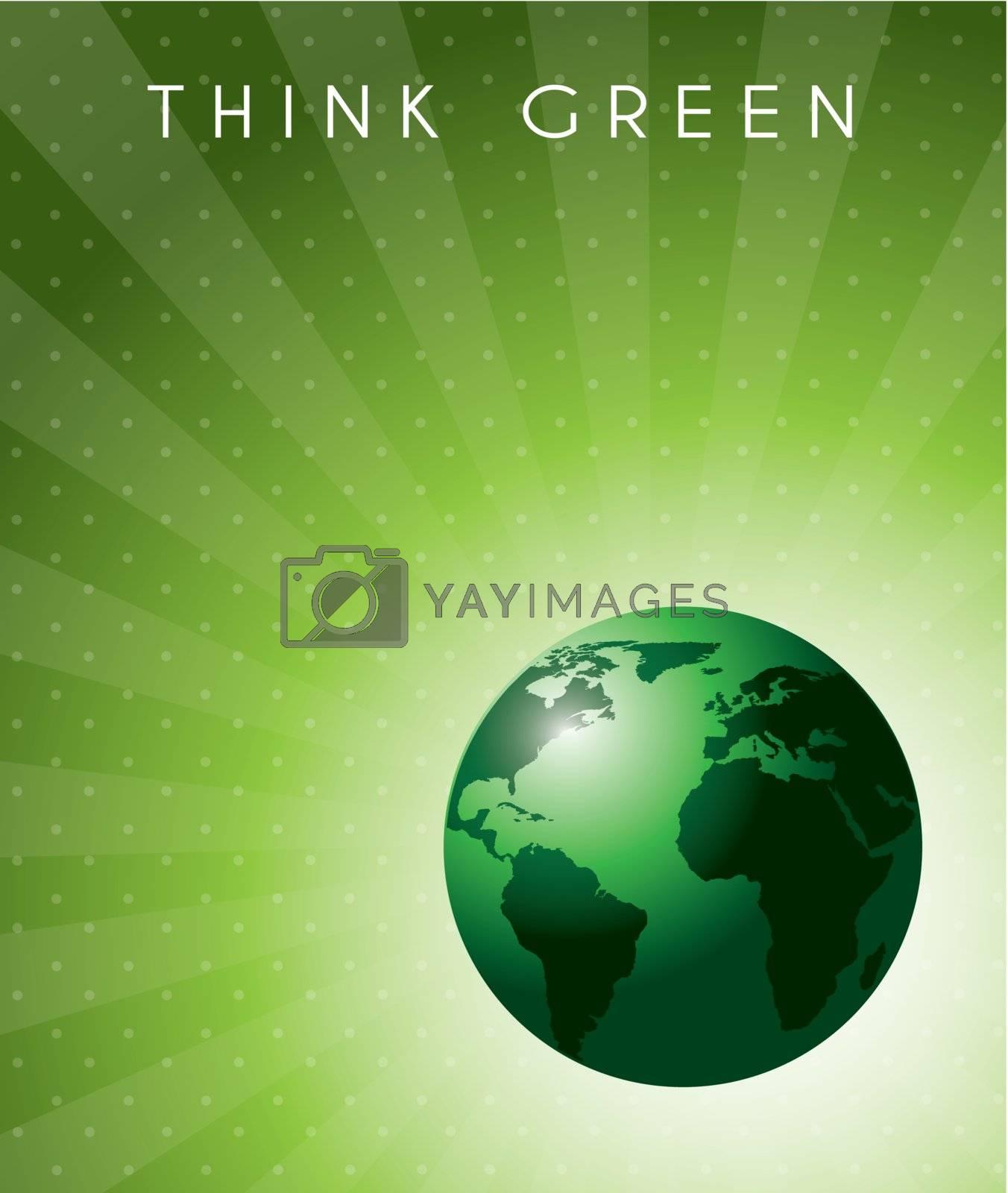 Think green background over lines background vector illustration
