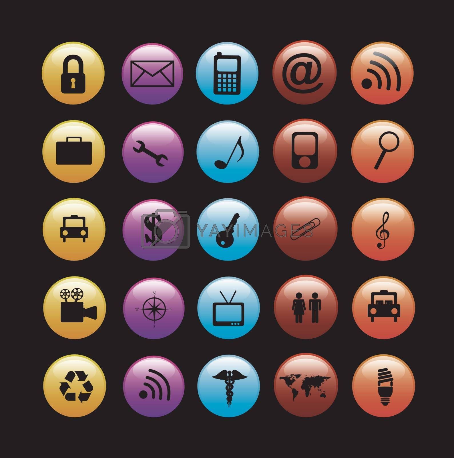 Communications icons over black background vector illustration