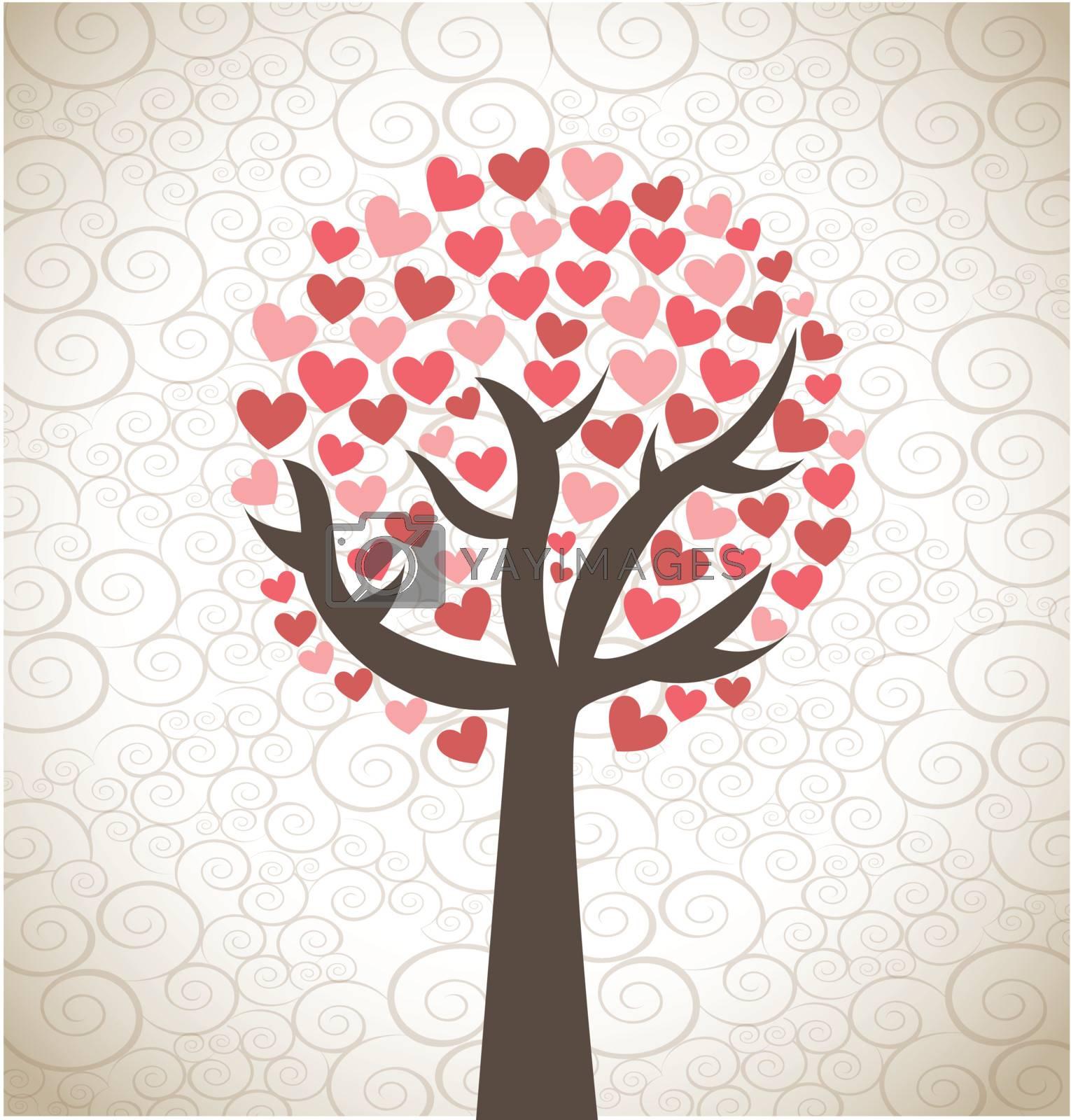 Love tree over background  vector illustration