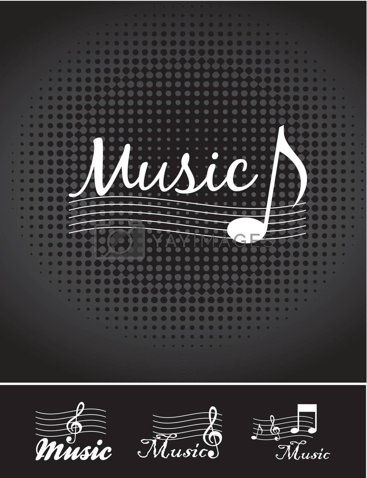 Music notes over black background vector illustration
