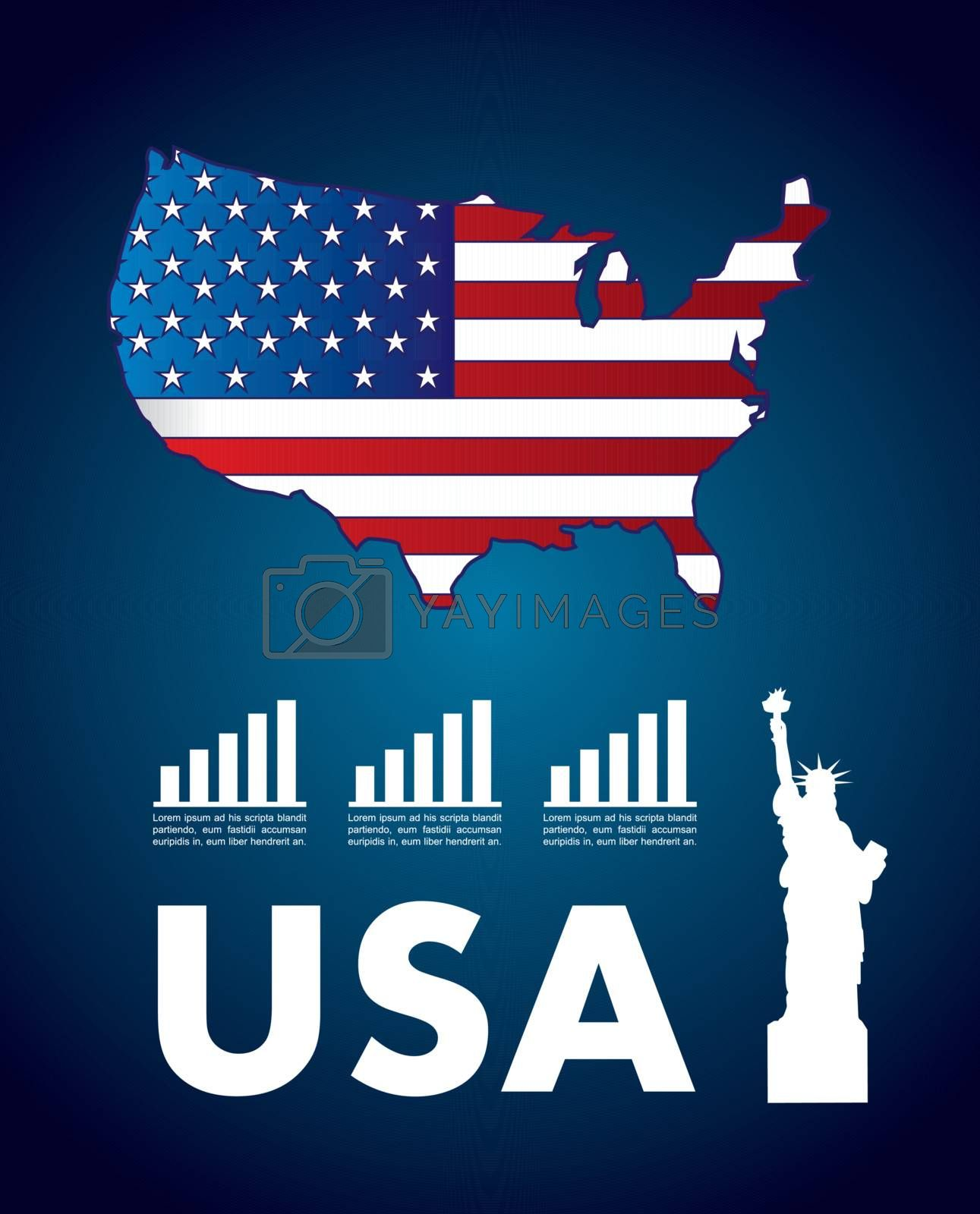 USA icons over blue background vector illustration