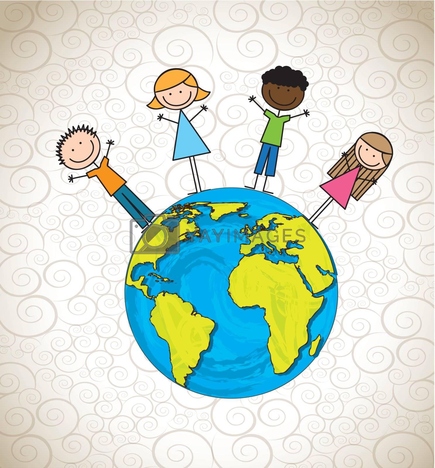 Children and planet over vintage background vector illustration