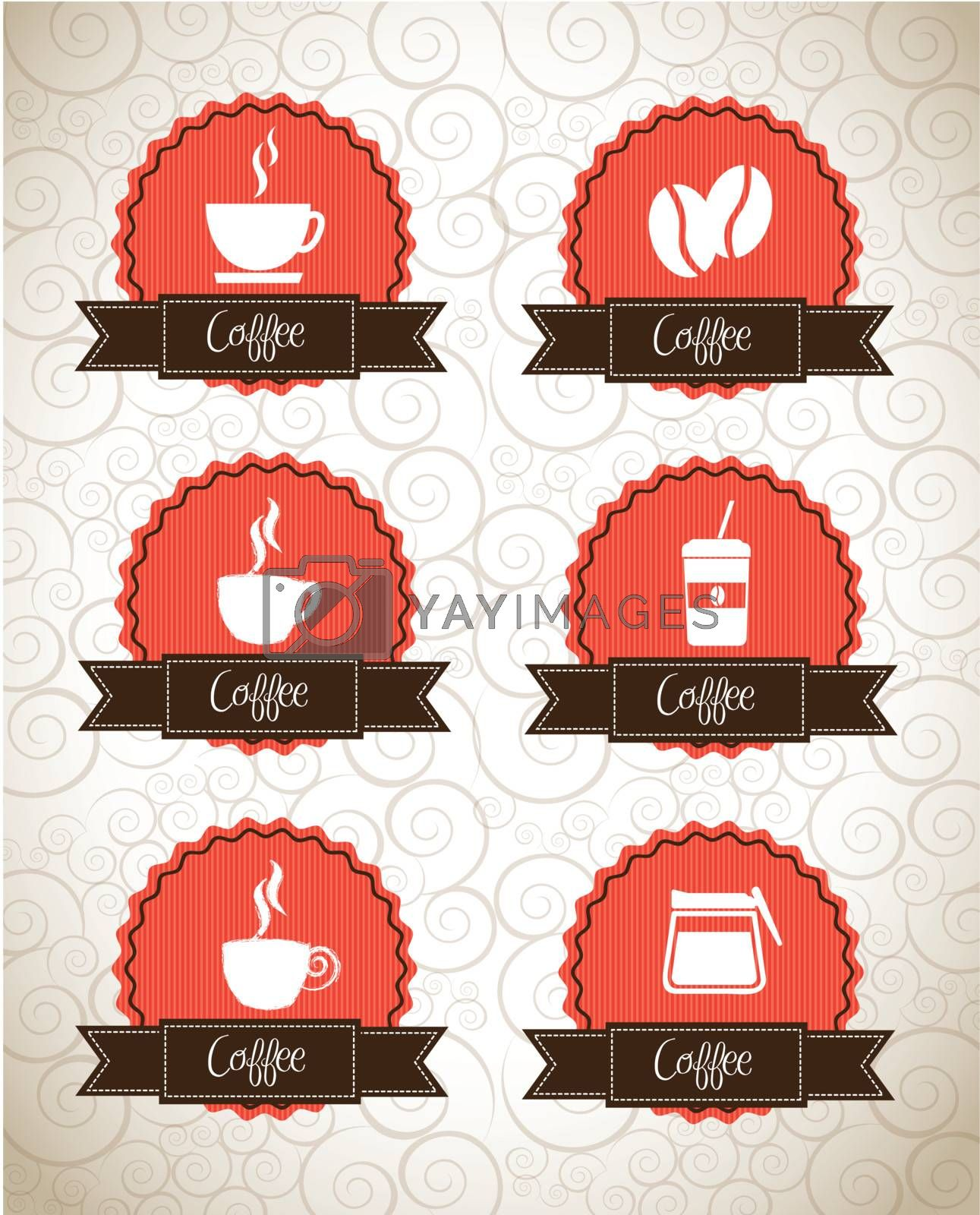 Coffe icons over seal and vintage background vector illustration