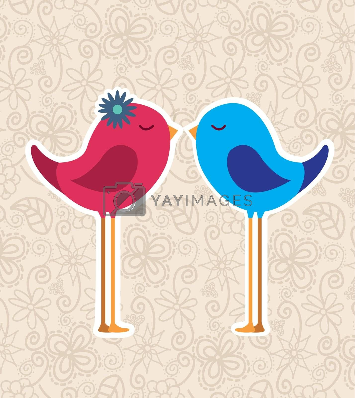 bird couple over vintage background love card vector illustration