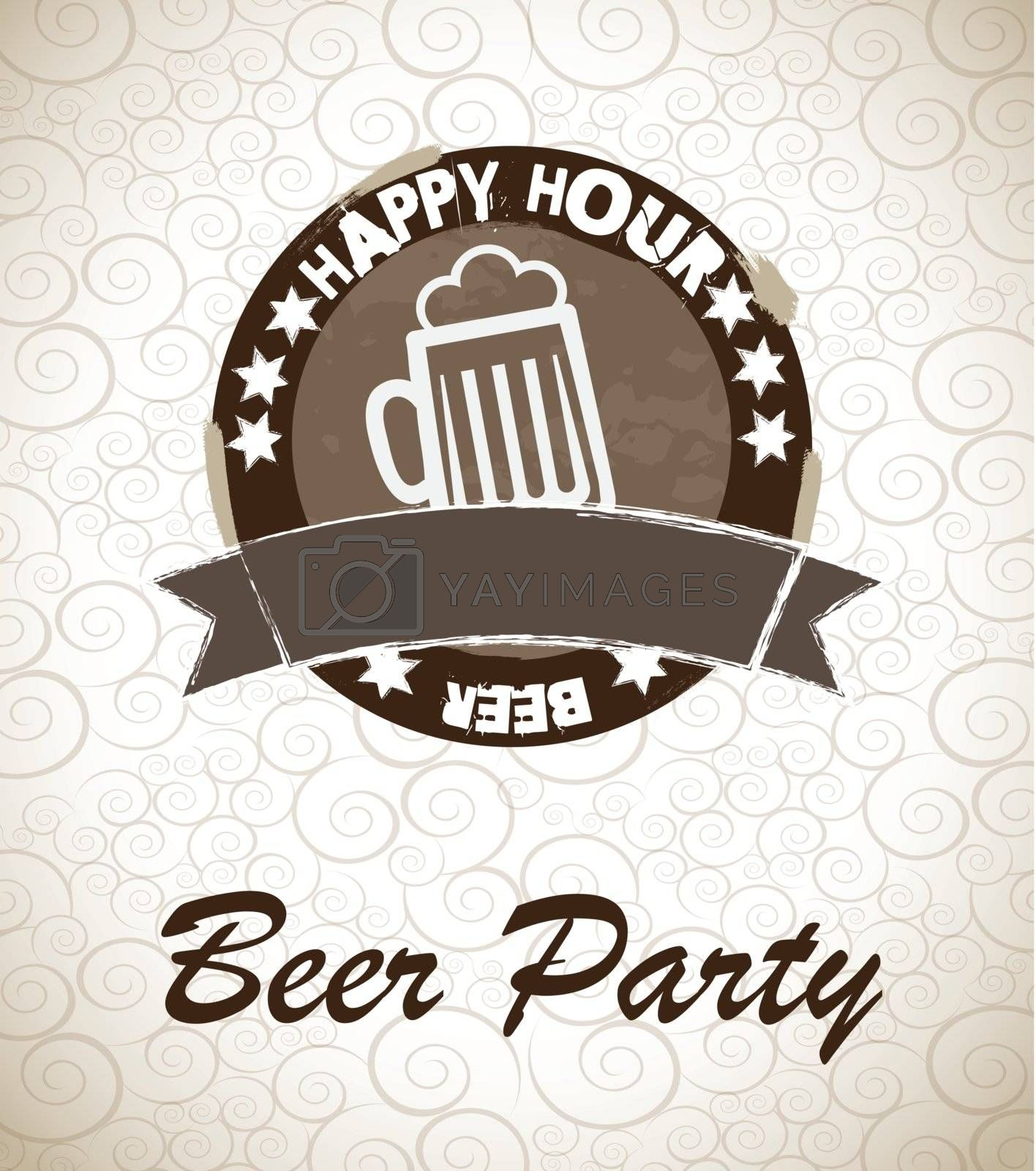 a big glass of beer in signal of happy hour vector illustration