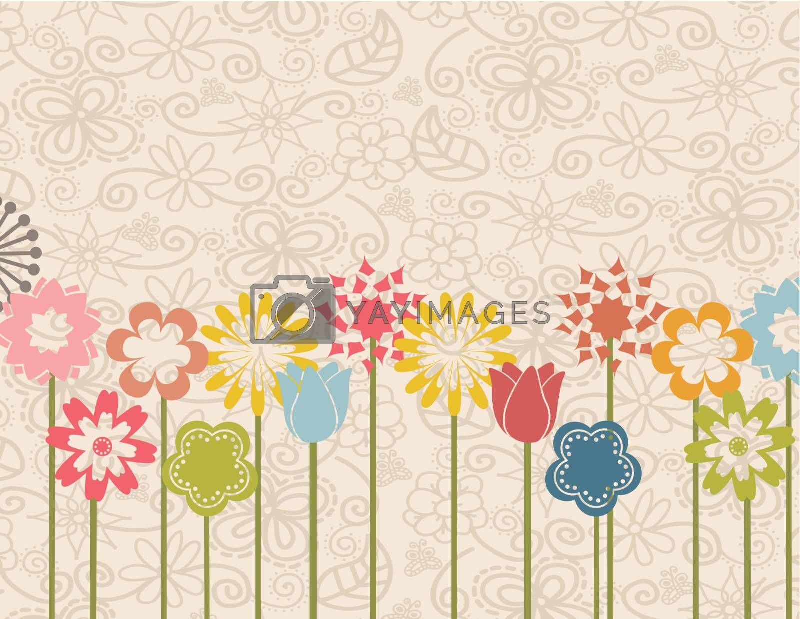 Garden over flower background vector illustration