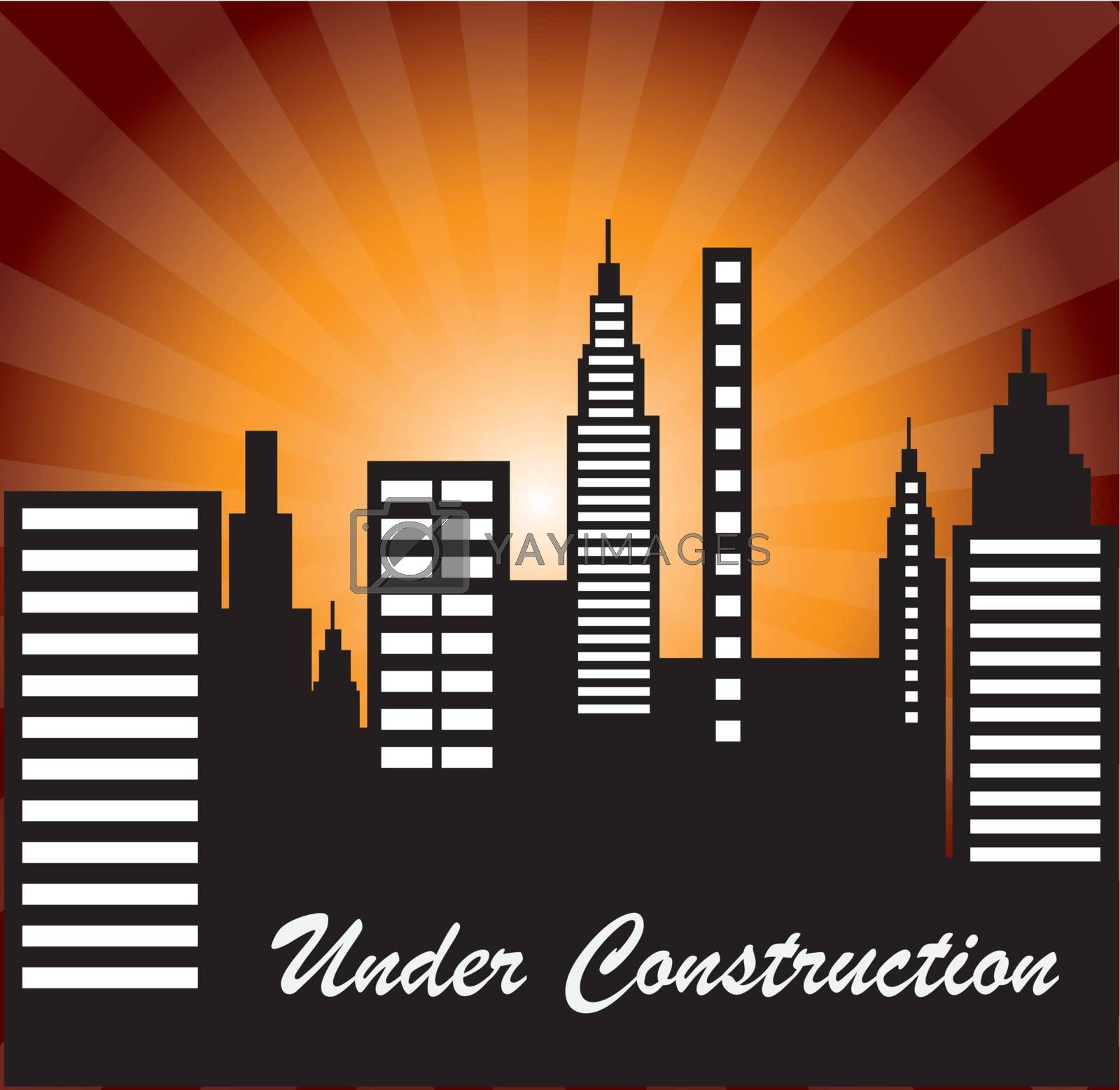 Under construction with building over light background