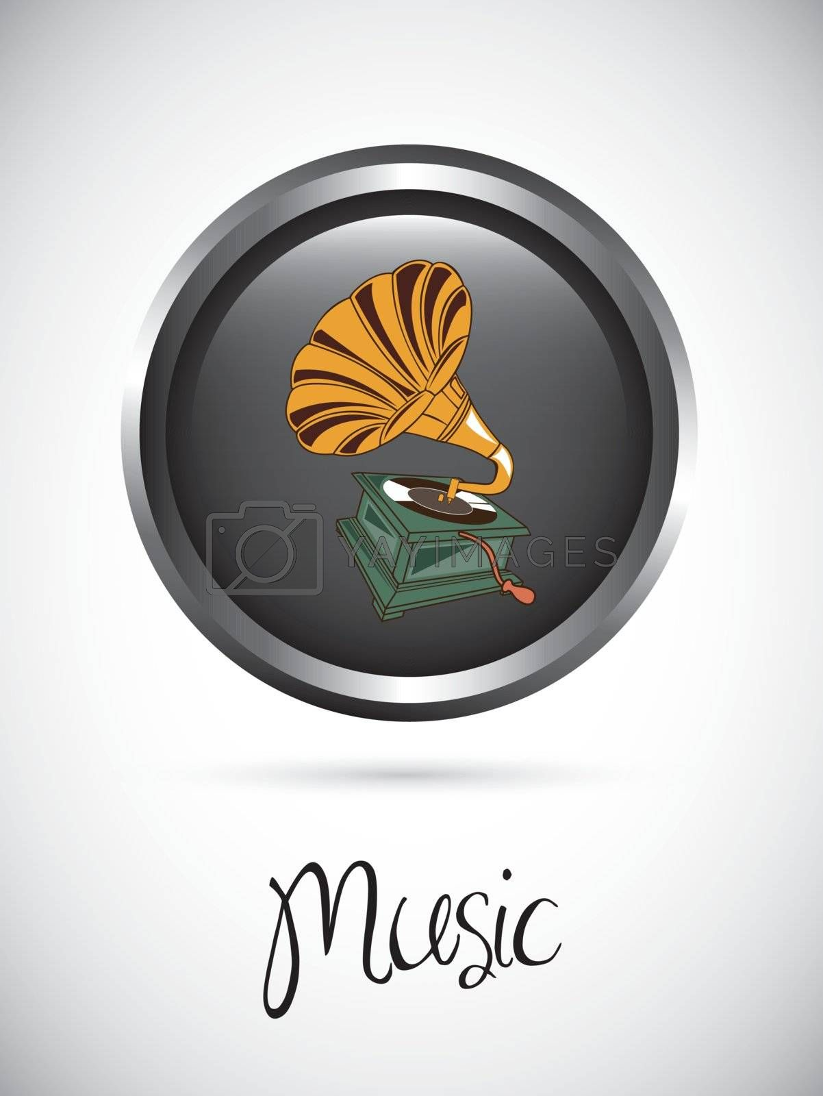 Music button over white background vector illustration