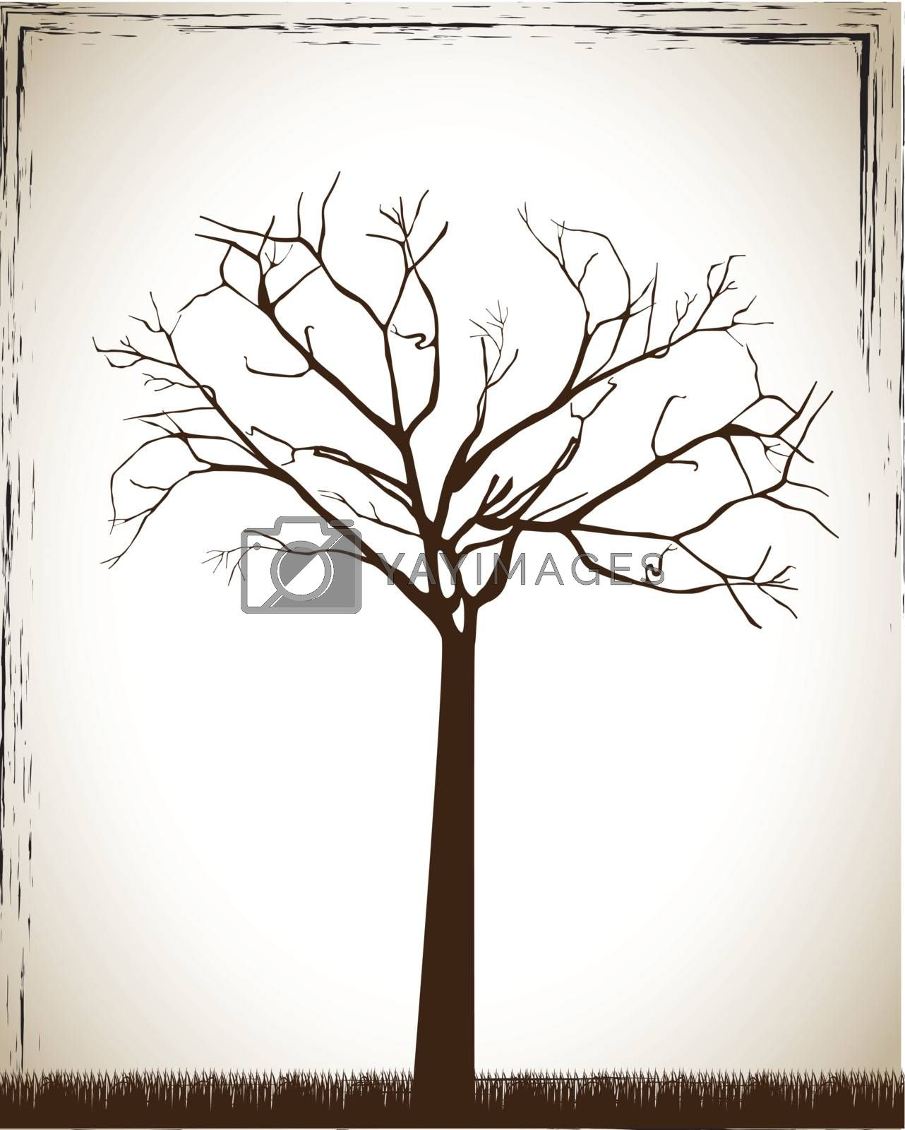 Big tree over white and old background vector illustration