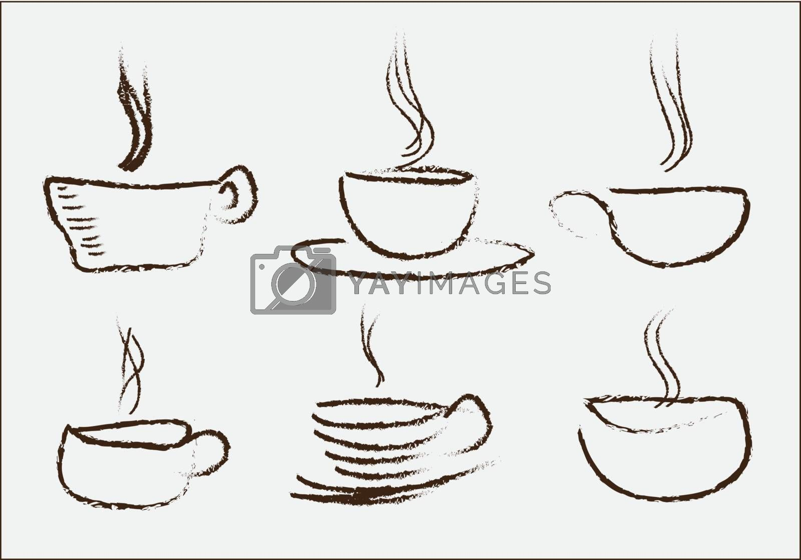 different drink cups hand drawn over white background vector illustration