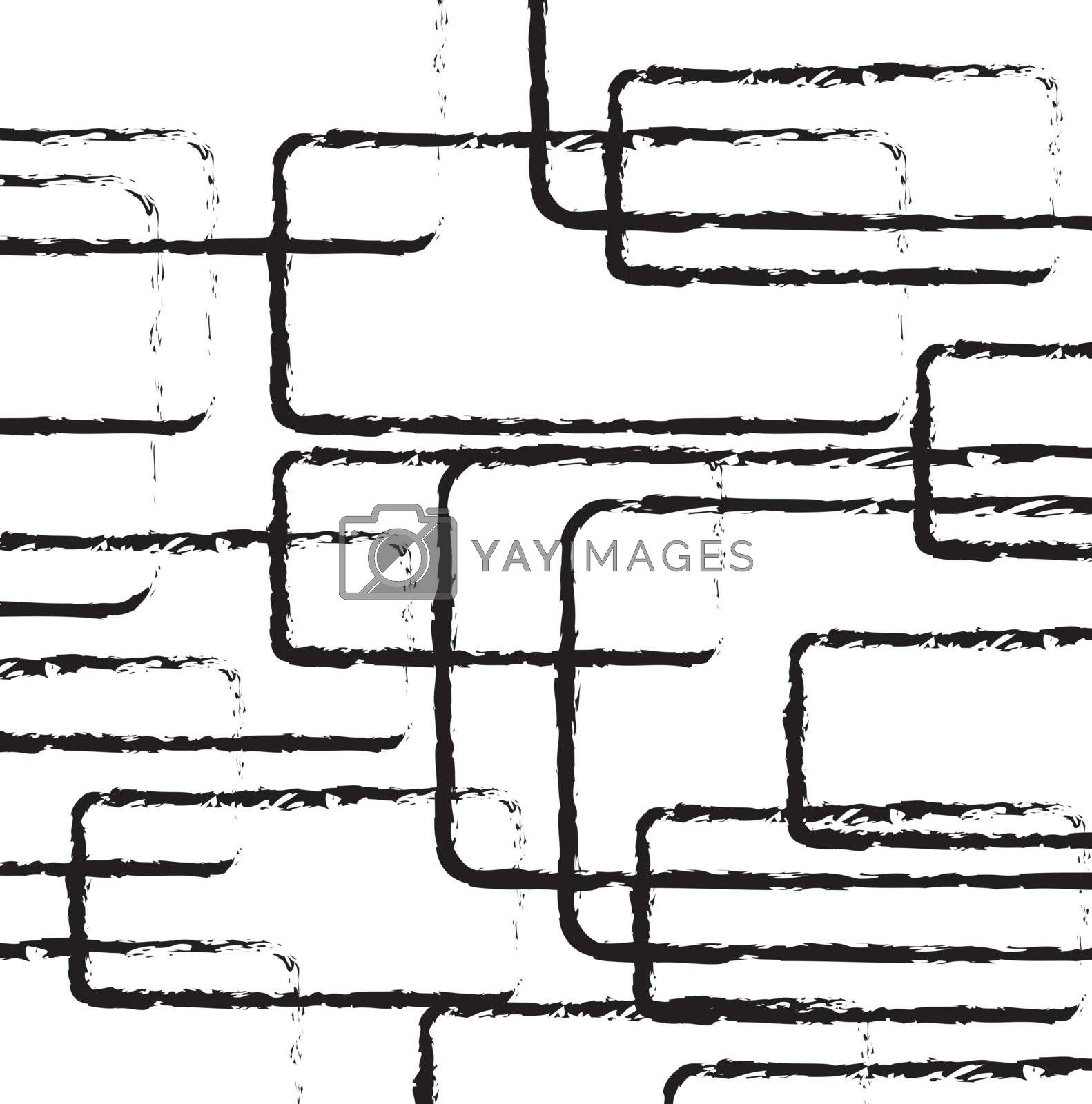 Black Lines and square over white background vector illustration