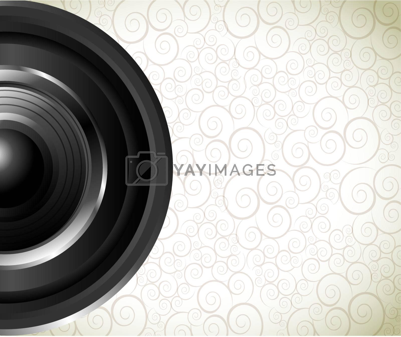 Lens of camera over vintage background vector illustration