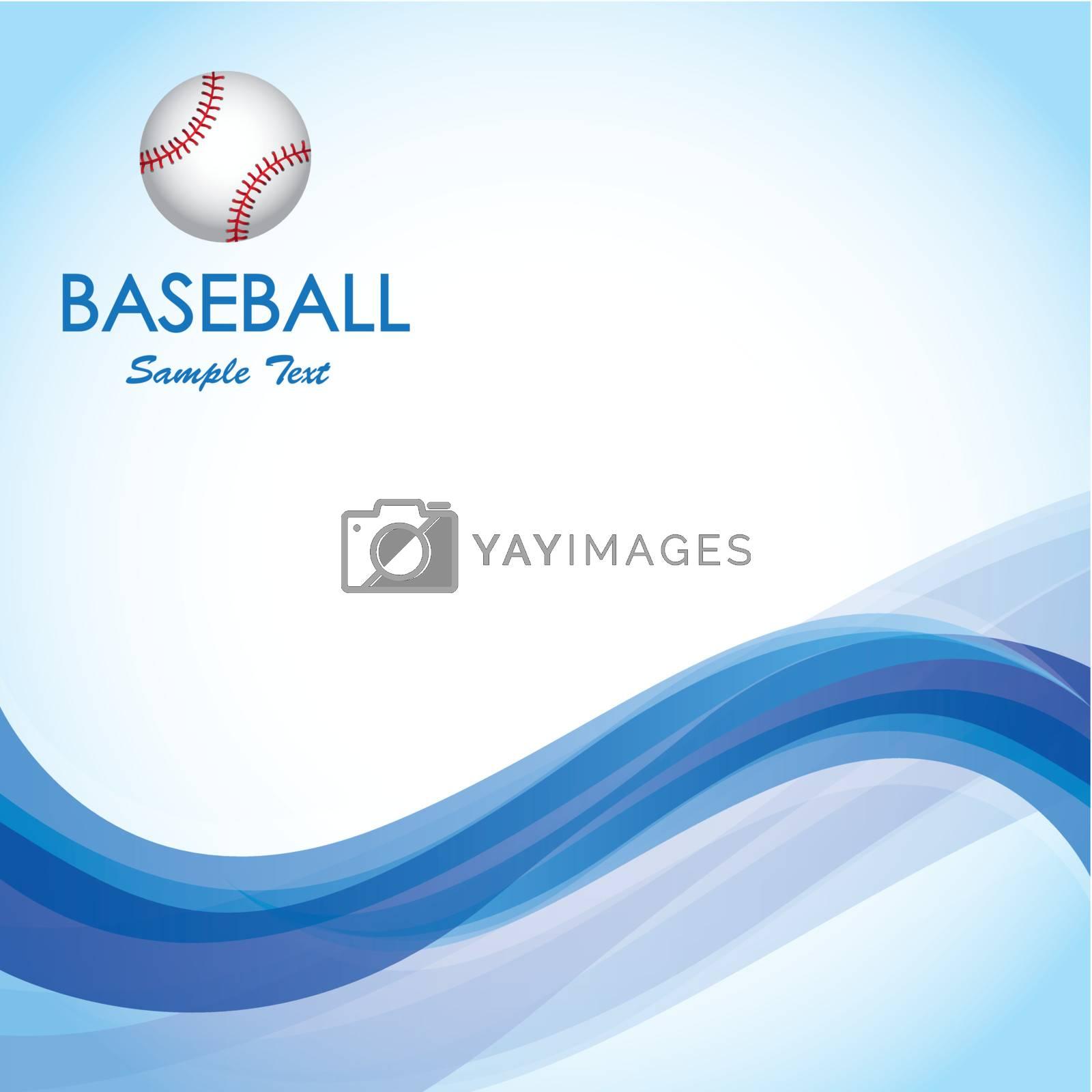 Ball of baseball over blue wave over blue background vector illustration
