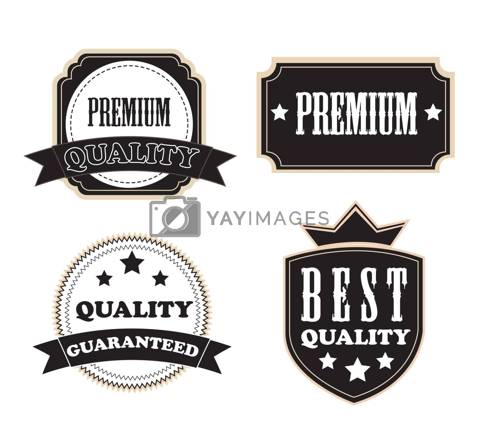 Quality, premium, guaranteed seal over white background