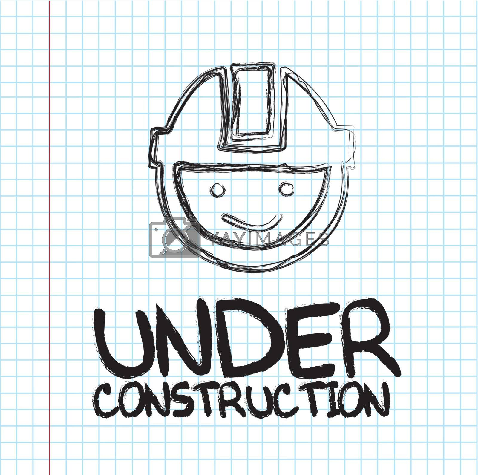 Under construction face over paper background vector illustration