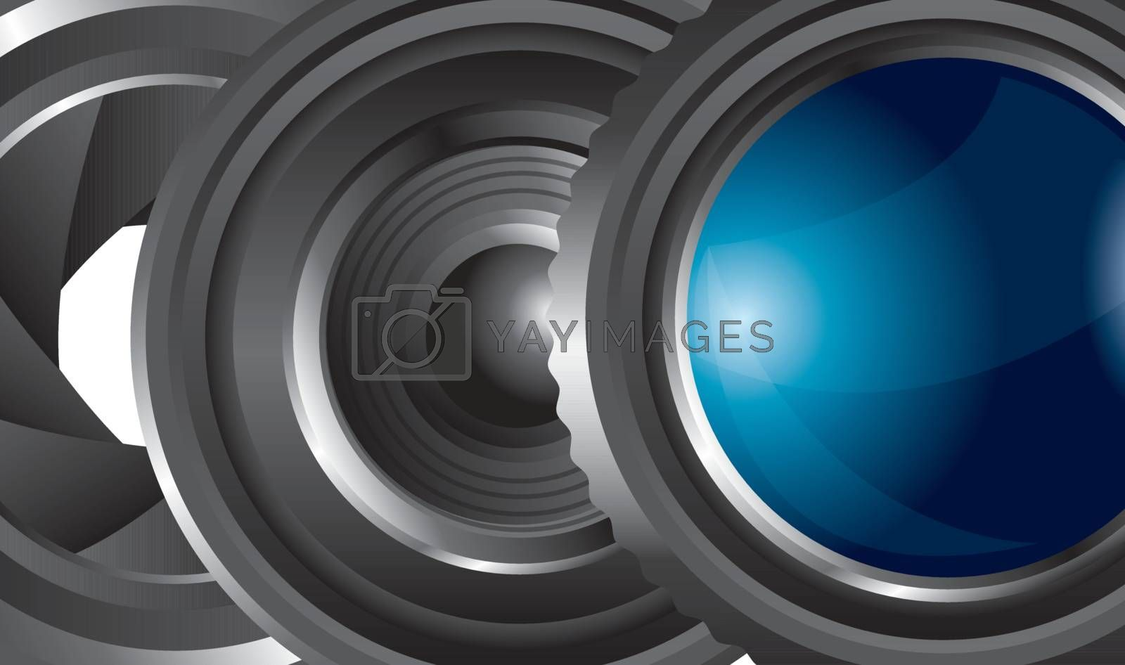 Lens of camera in different positions vector illustration