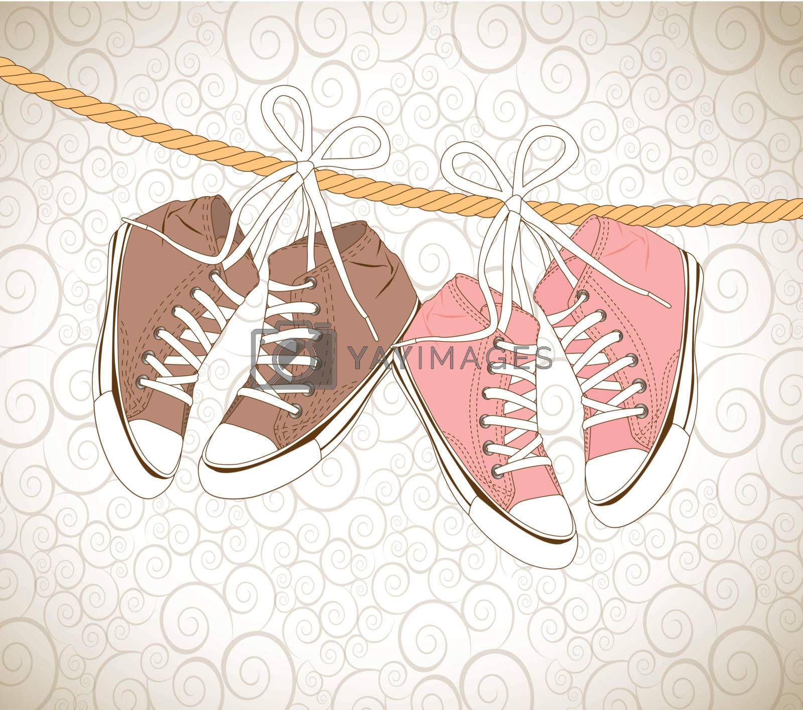 old shoes over vintage background vector illustration