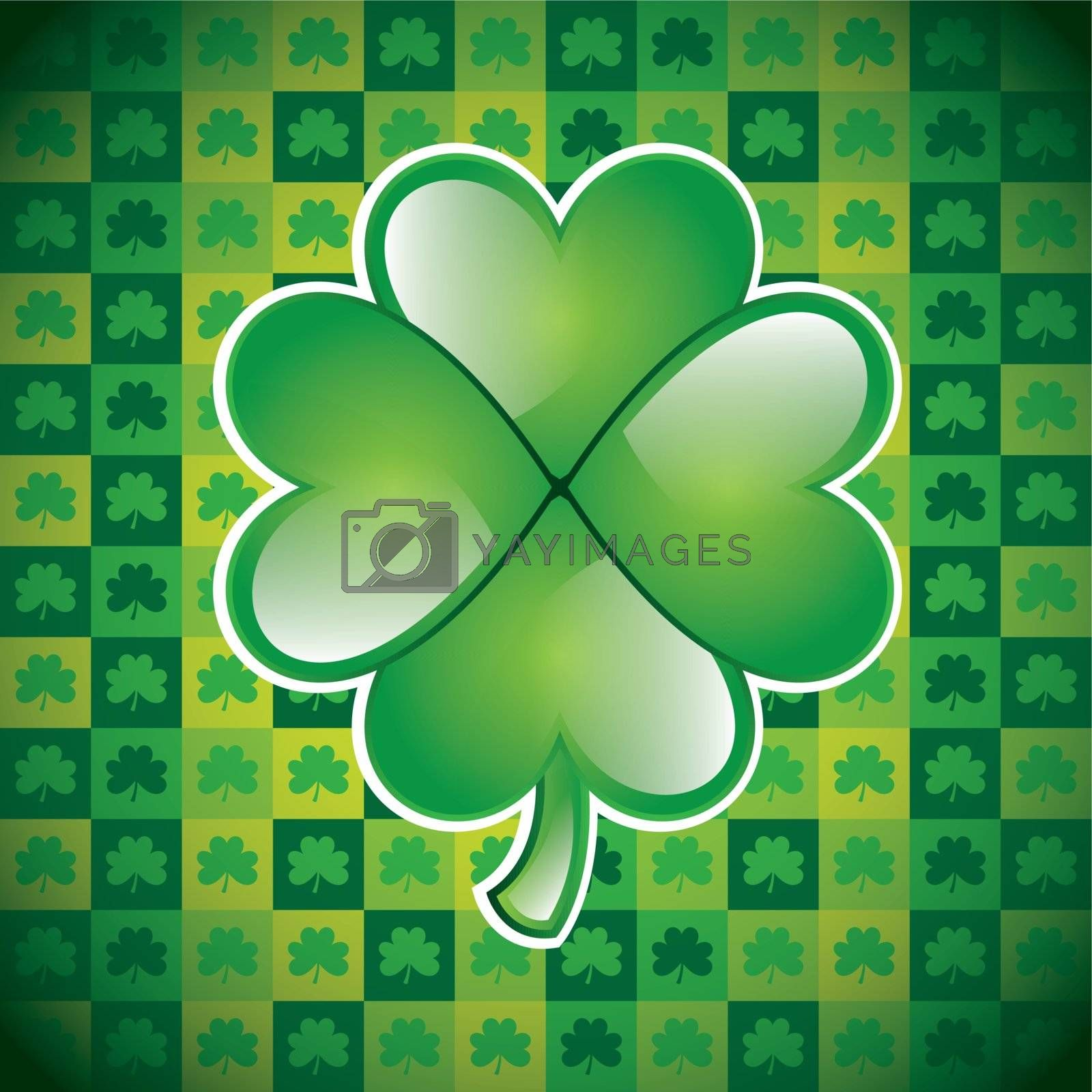 St Patricks day background with clover vector illustration