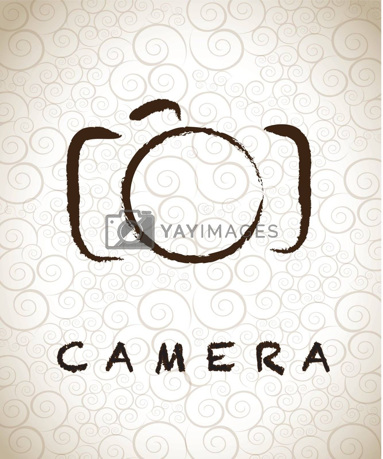 photographic camera drawn freehand over vintage background vector illustration
