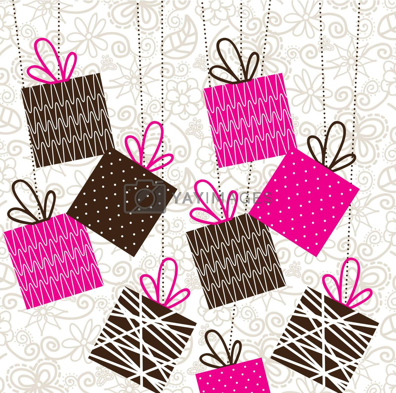 birthday gifts over vintage background vector illustration