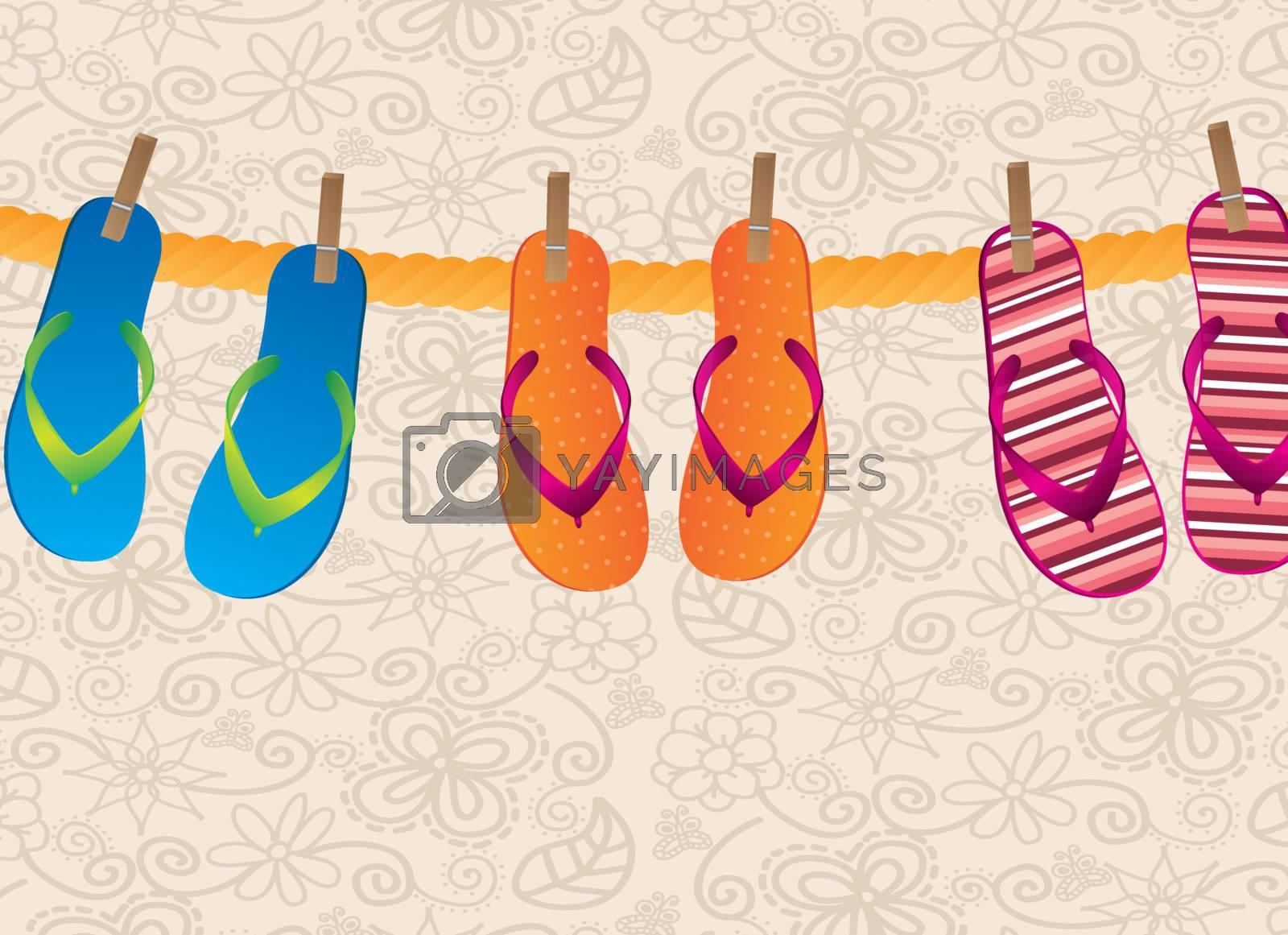 flip flops hanging over vintage background vector illustration