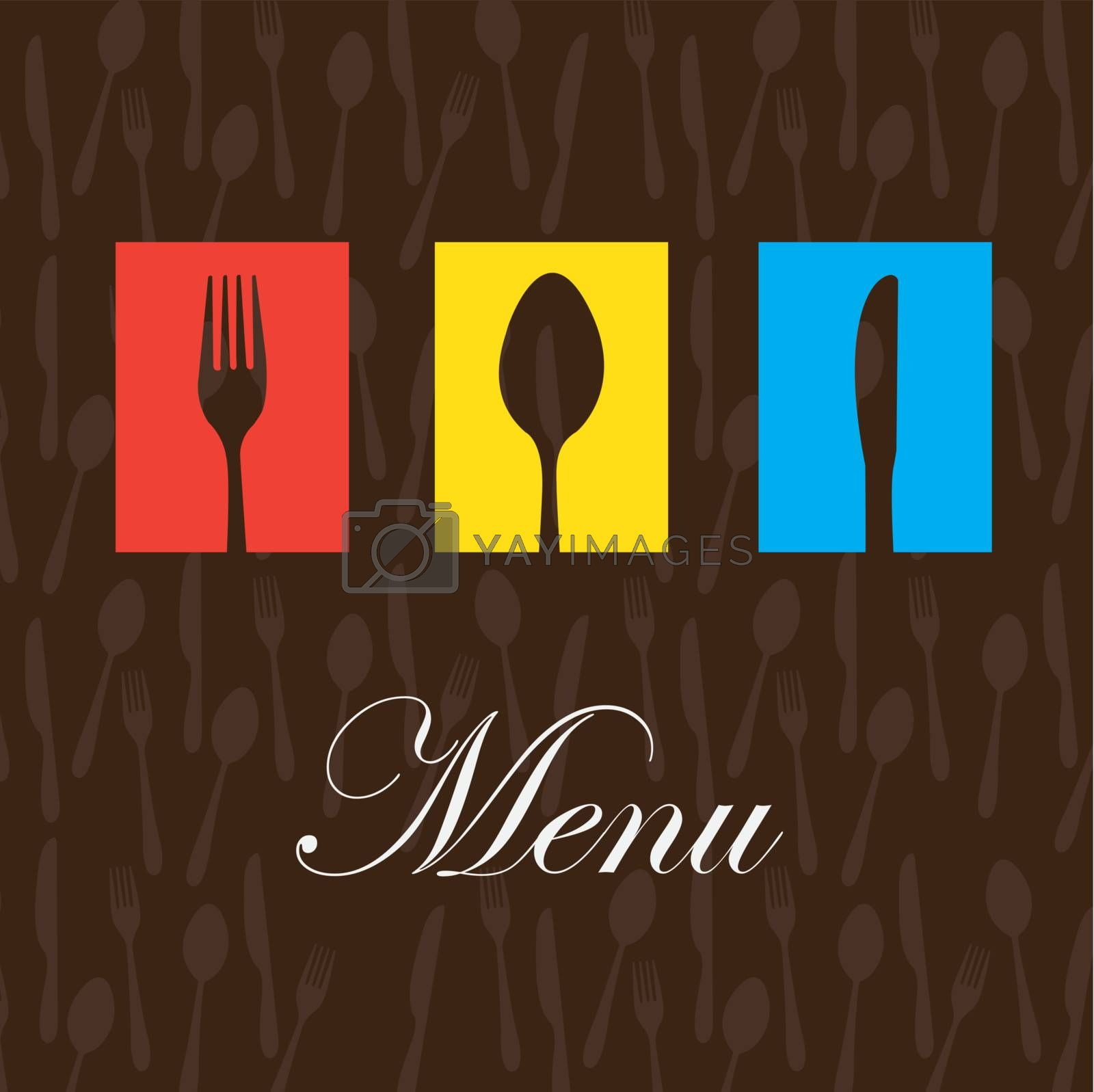 Cutlery colors over brown background vector illustration