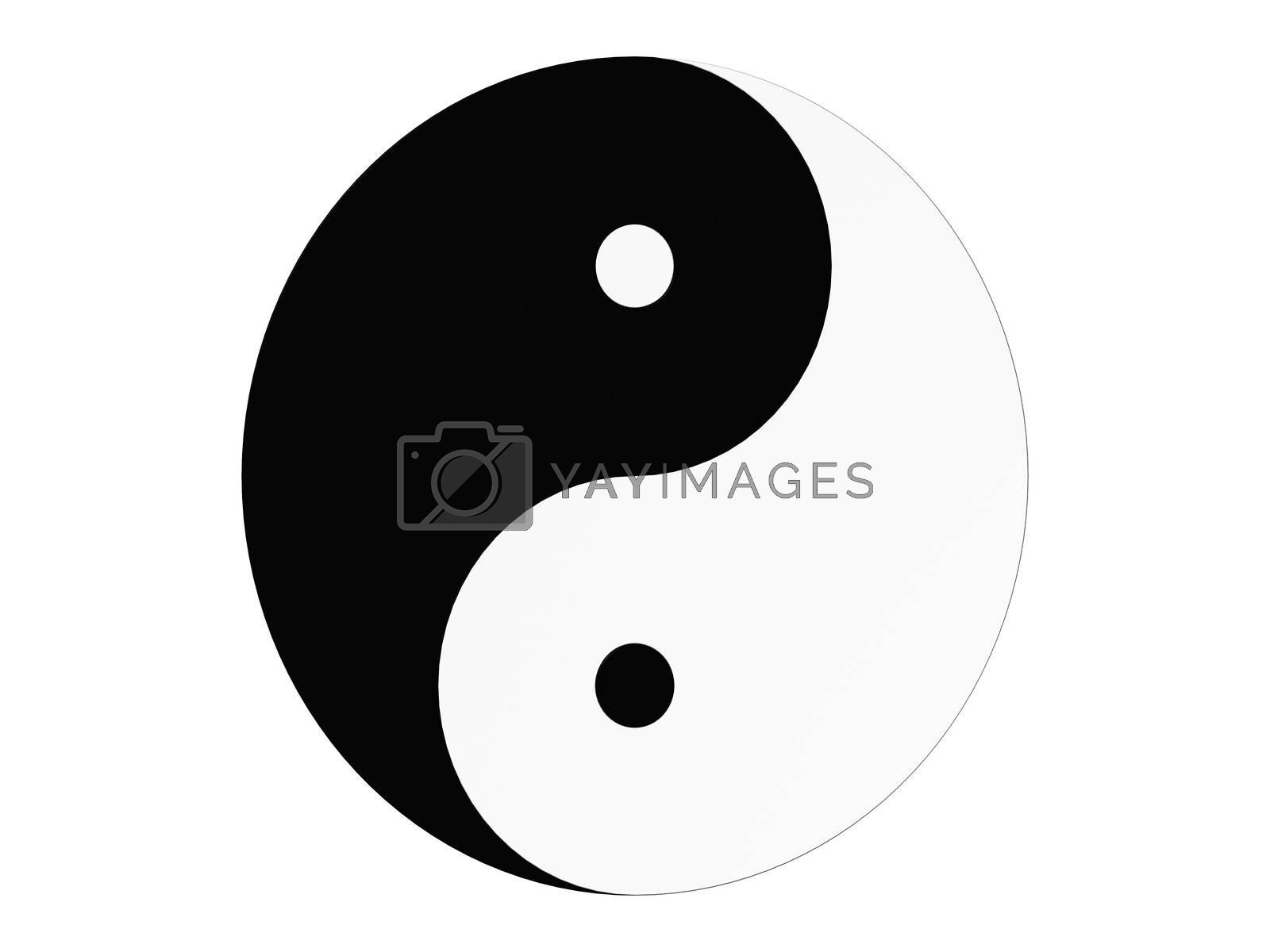 Classic Black and White Yin Yang with a white background
