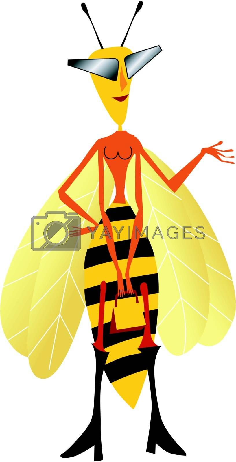 Funny character little wasp in cartoon style