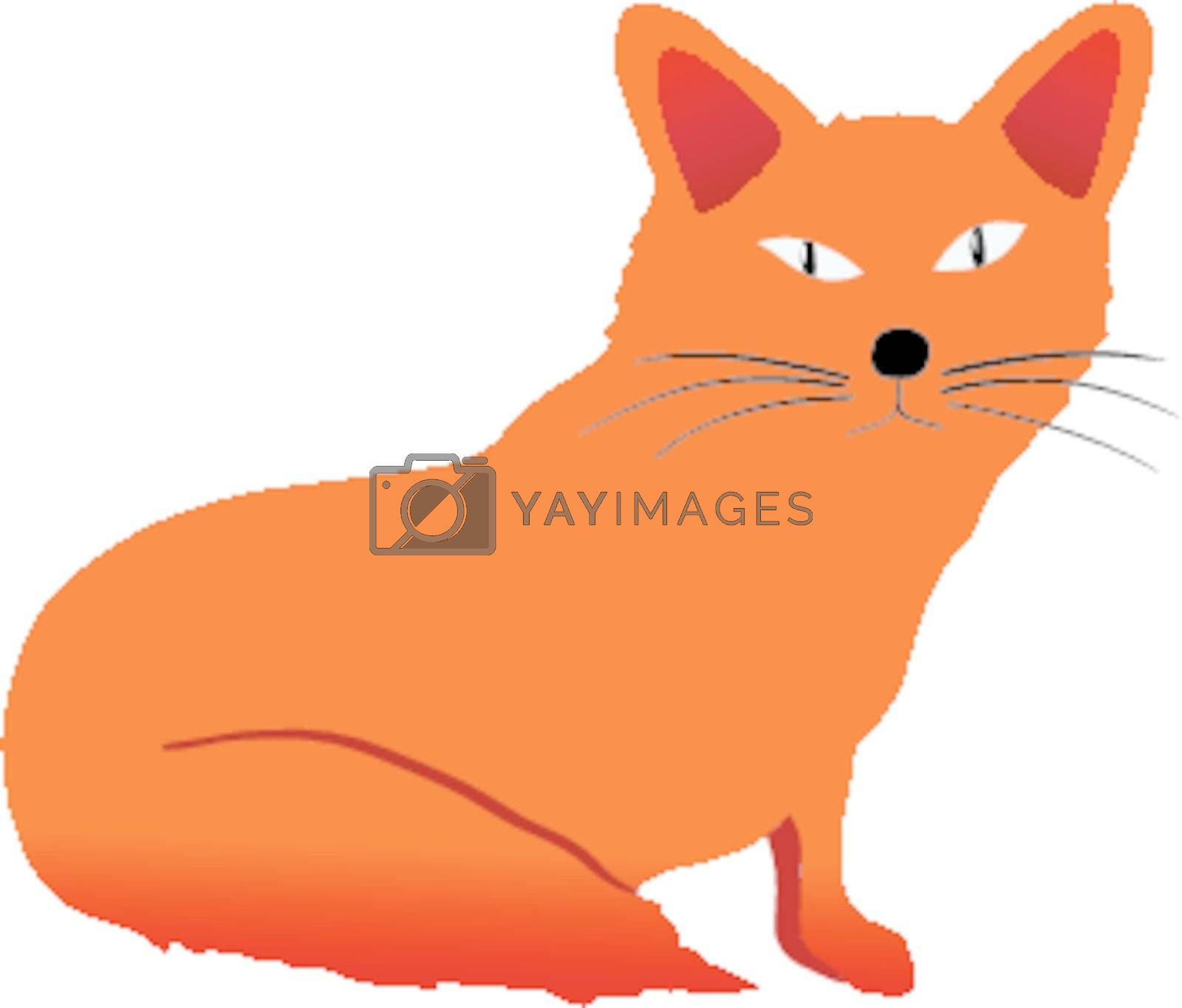 Funny character little fox in cartoon style