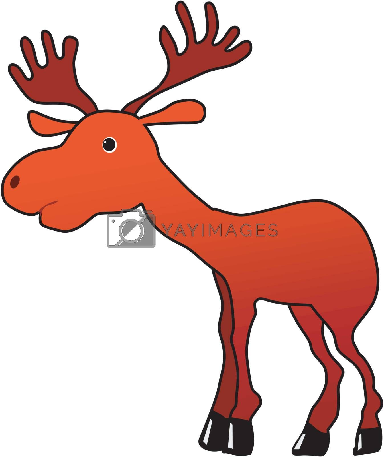 Funny character little moose in cartoon style