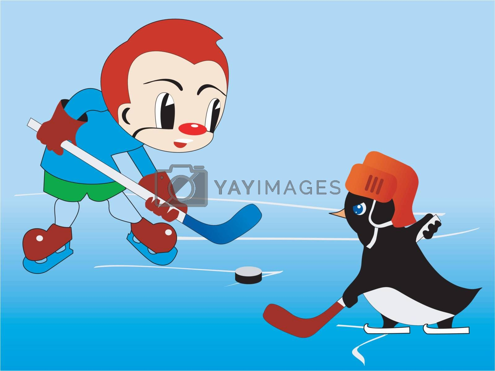Little boy and penguin play ice hockey