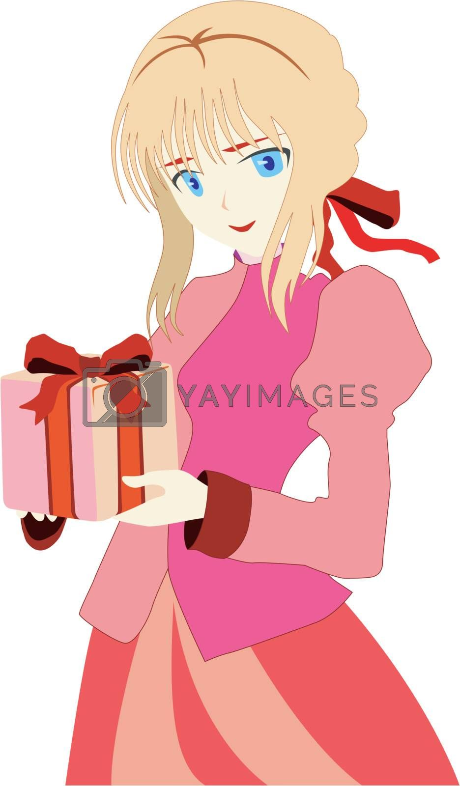 Beautiful young girl with wrapping gift box